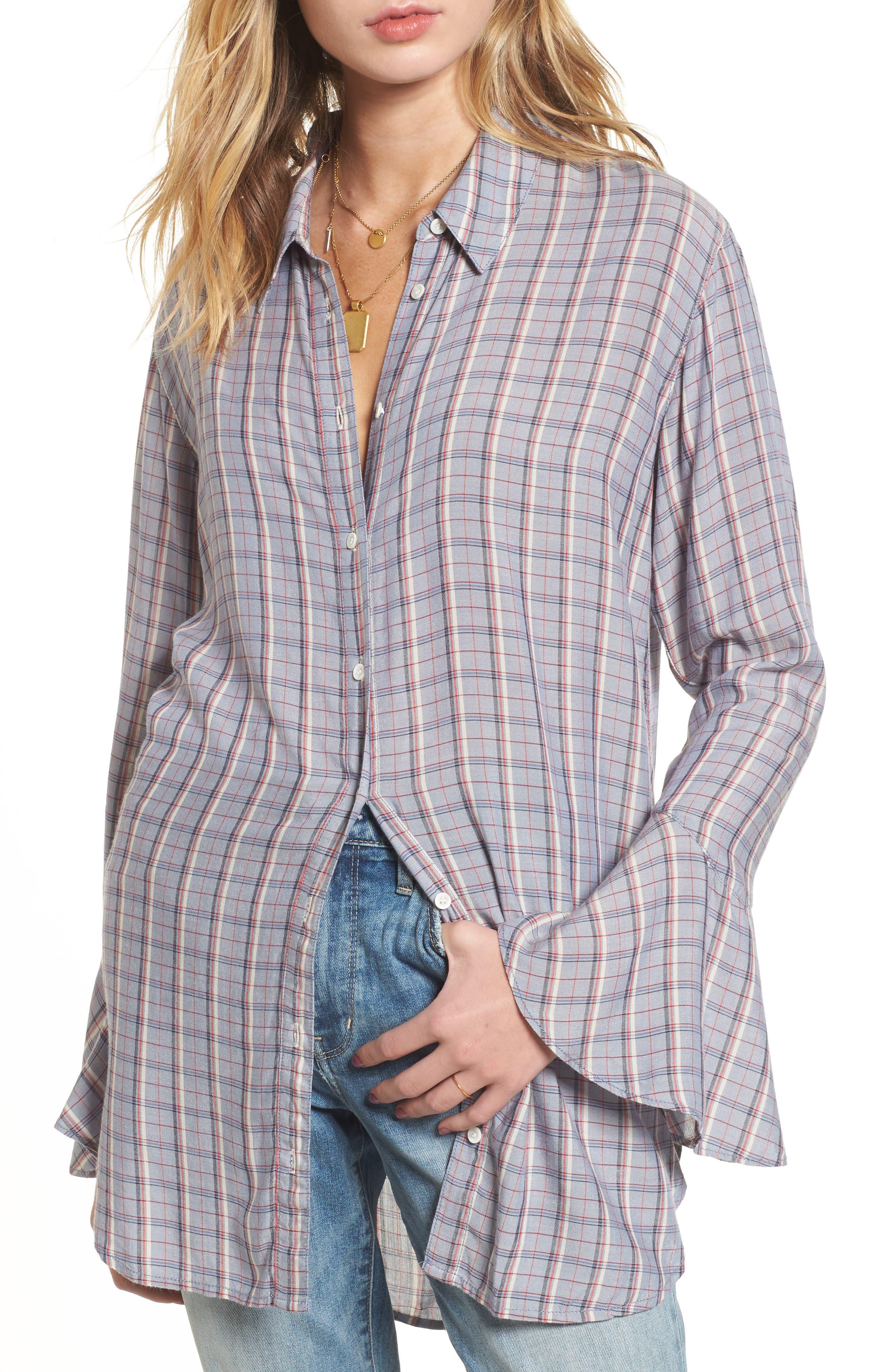 Plaid Drapey Shirt,                             Main thumbnail 1, color,                             400