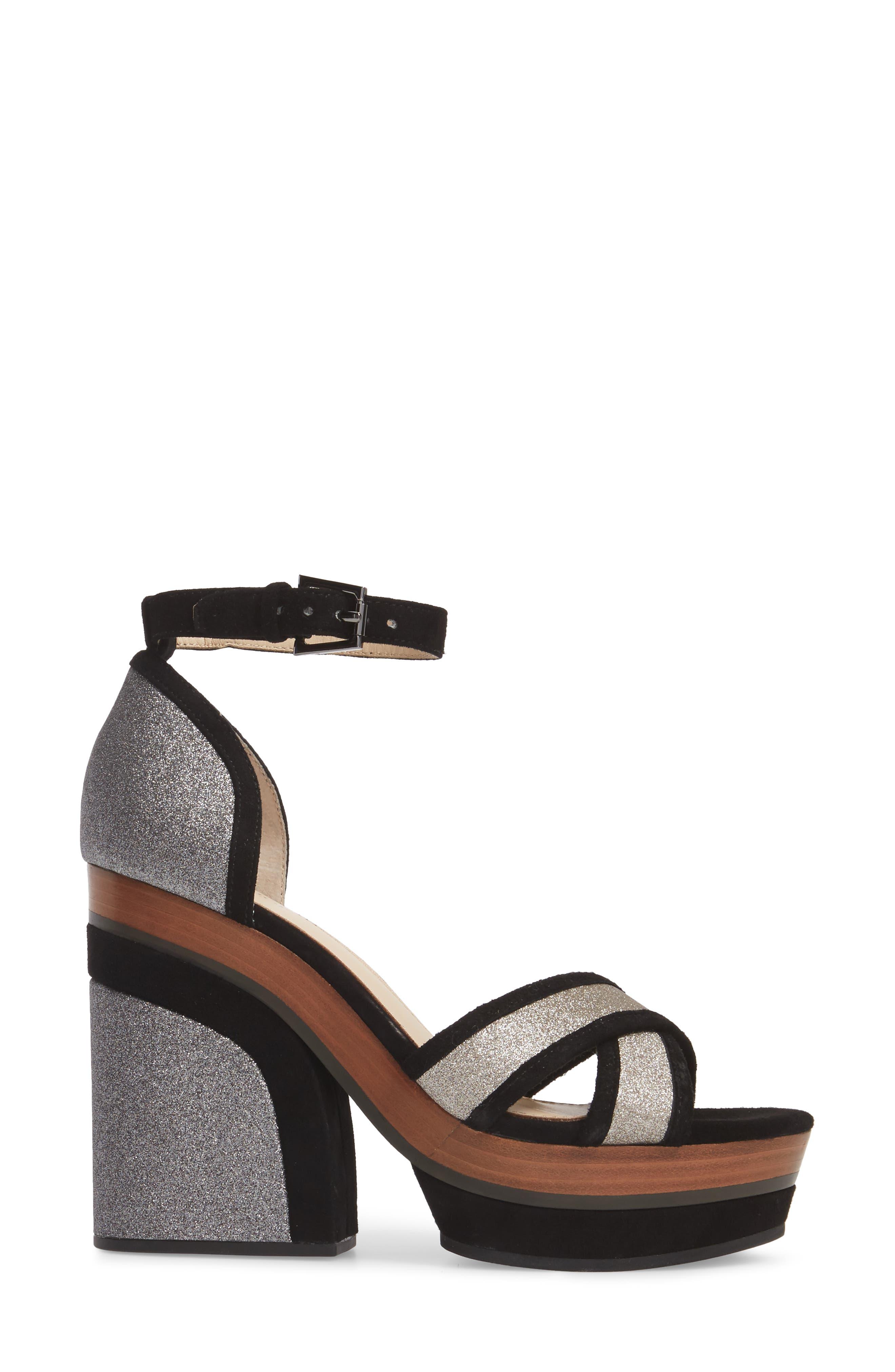 Paloma Ankle Strap Sandal,                             Alternate thumbnail 3, color,                             GUNMETAL GLITTER