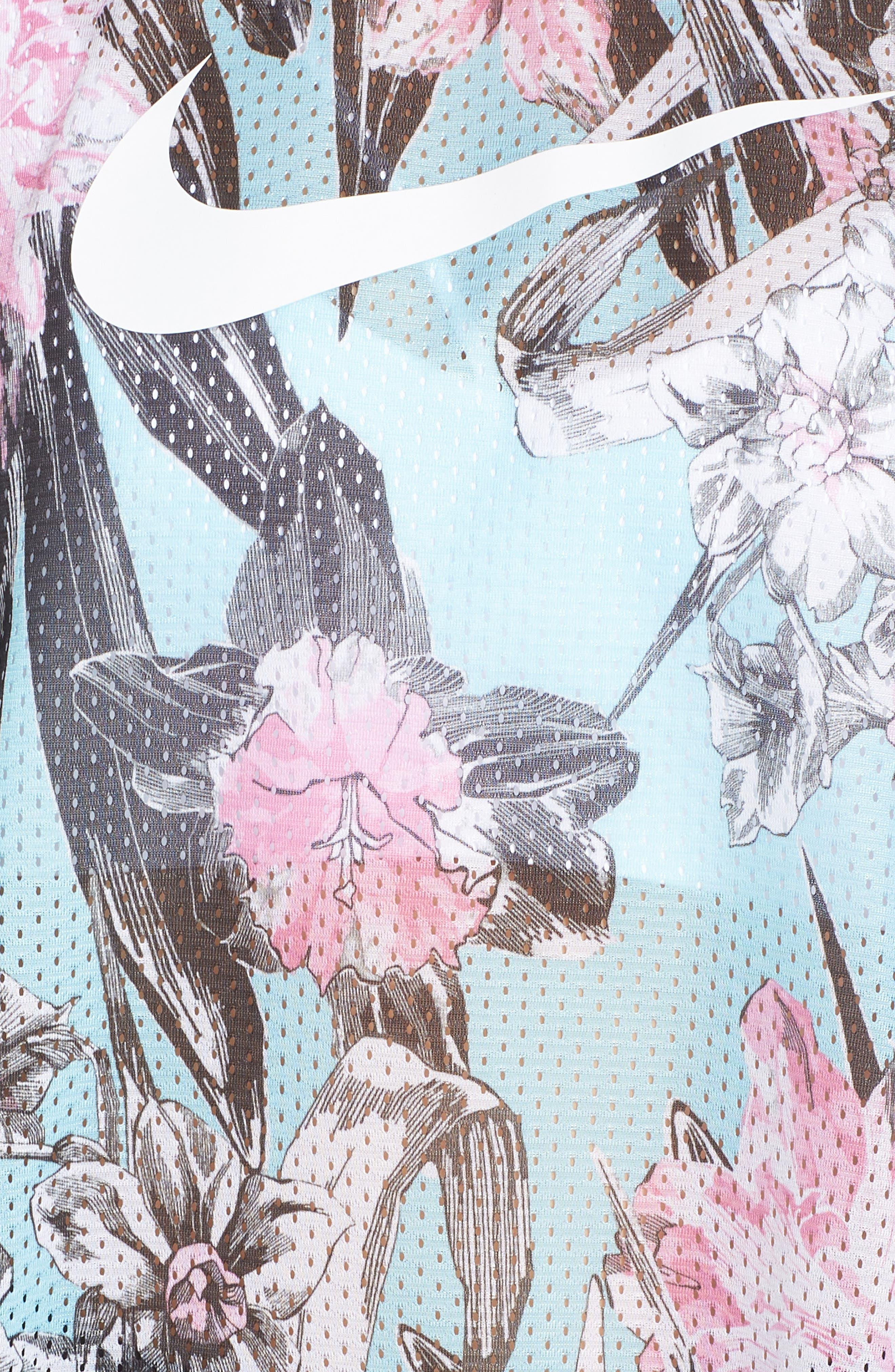 Sportswear Floral Print Mesh Top,                             Alternate thumbnail 6, color,                             TOPAZ MIST/ WHITE