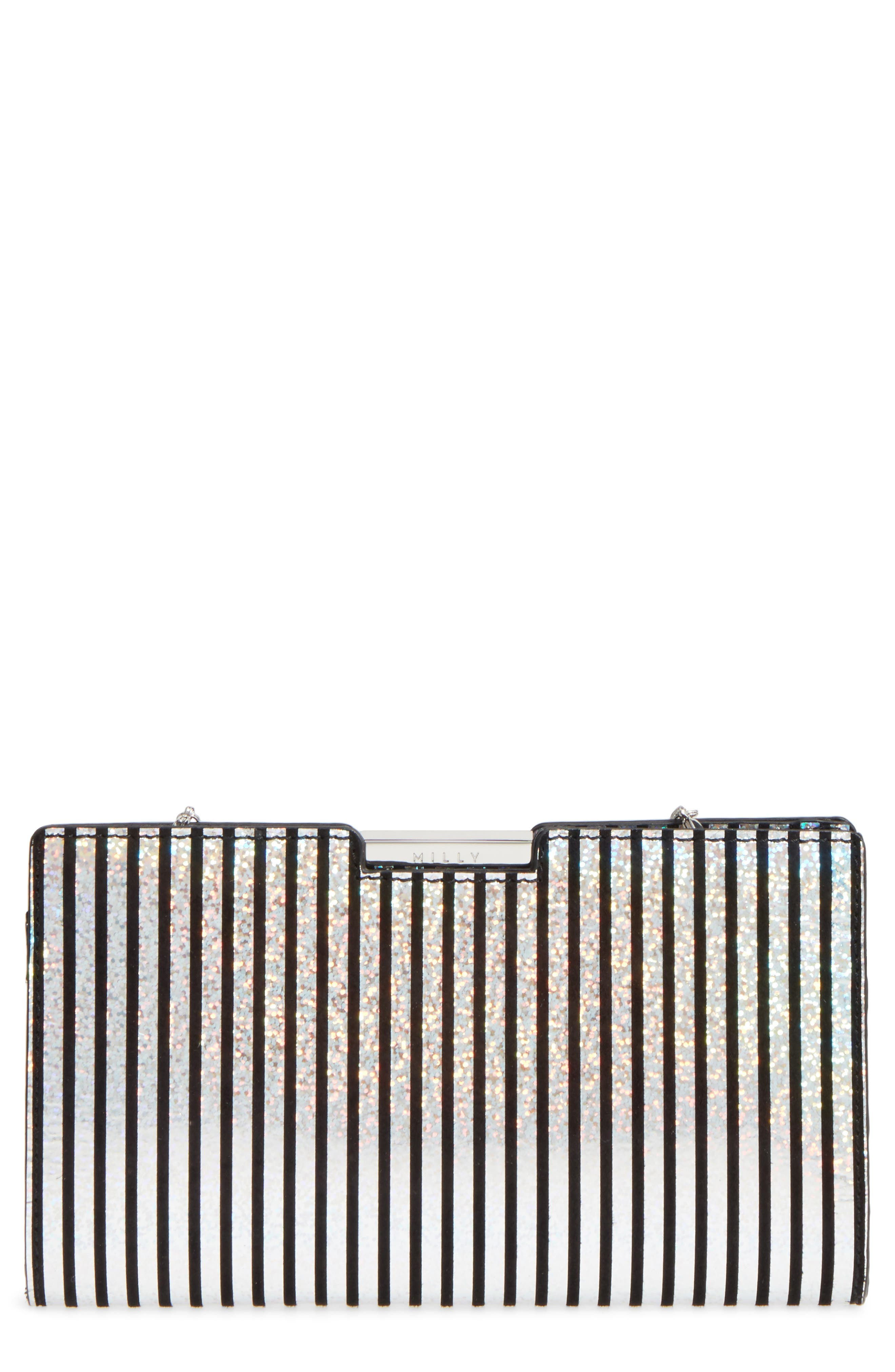 Small Metallic Stripe Frame Clutch,                             Main thumbnail 1, color,                             041