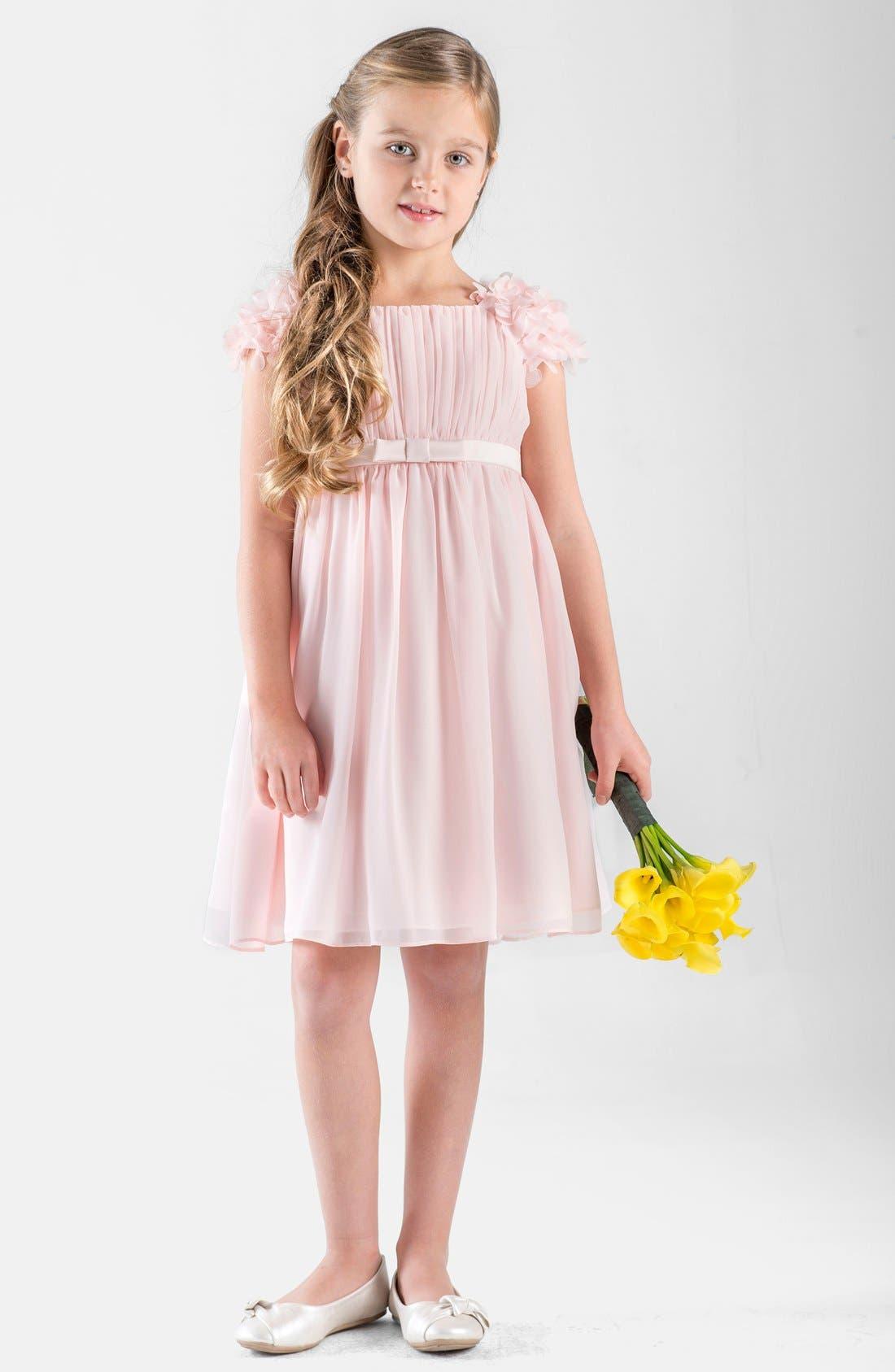 Petal Sleeve Chiffon Dress,                             Main thumbnail 1, color,                             BLUSH PINK