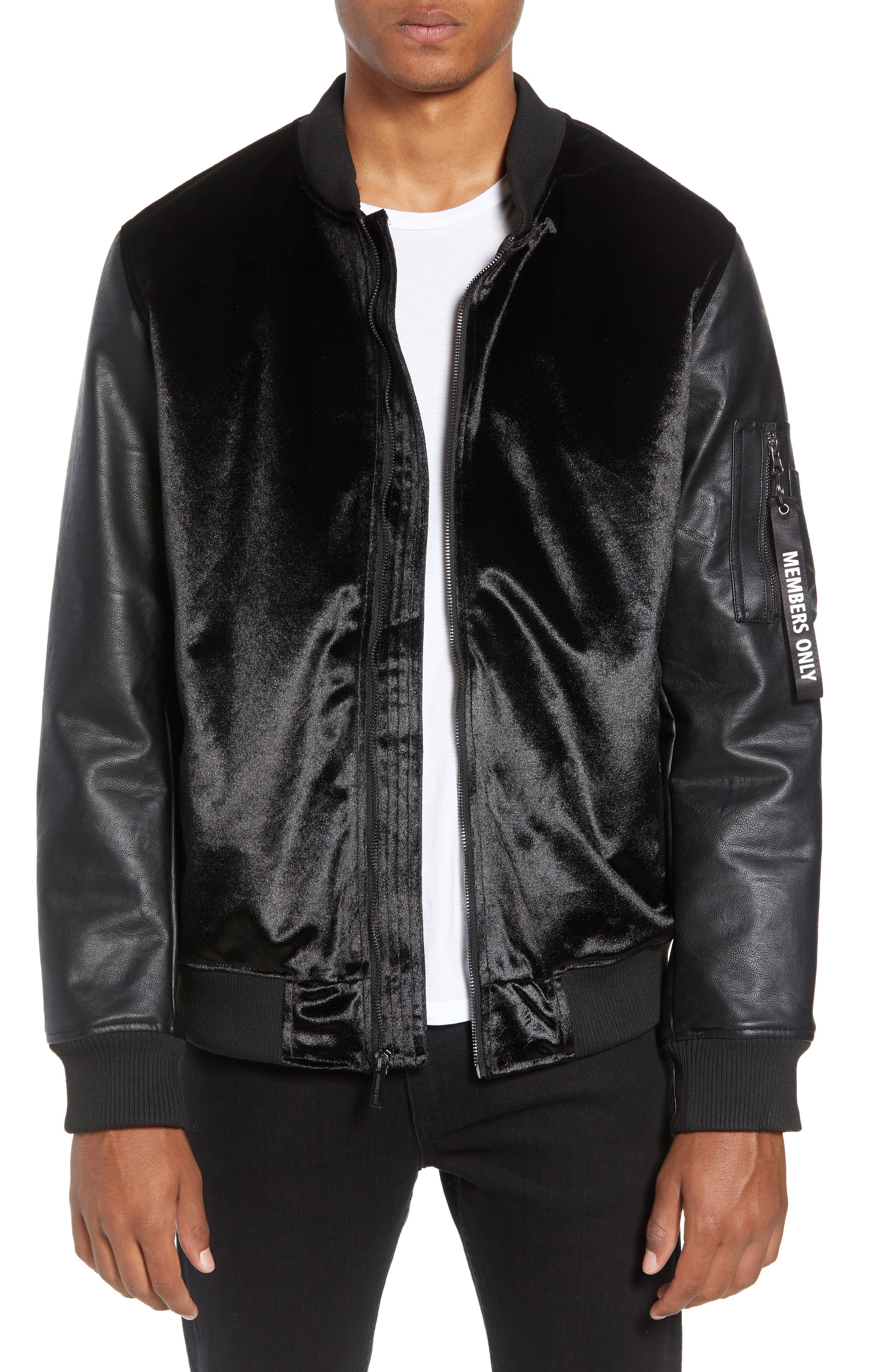 Velvet Bomber Jacket with Faux Leather Sleeves,                         Main,                         color, BLACK
