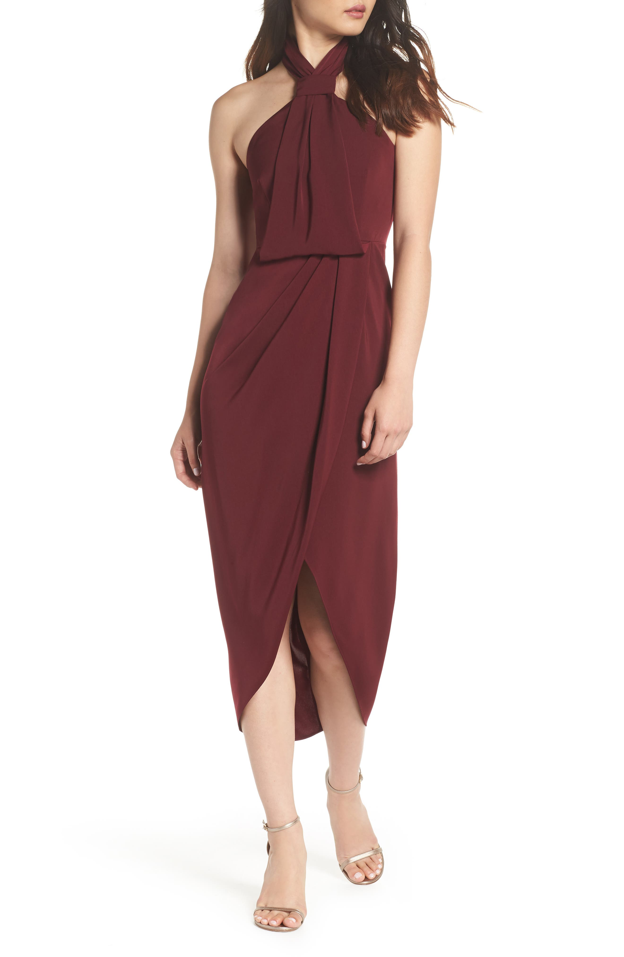 SHONA JOY Knotted Tulip Hem Midi Dress, Main, color, BURGUNDY