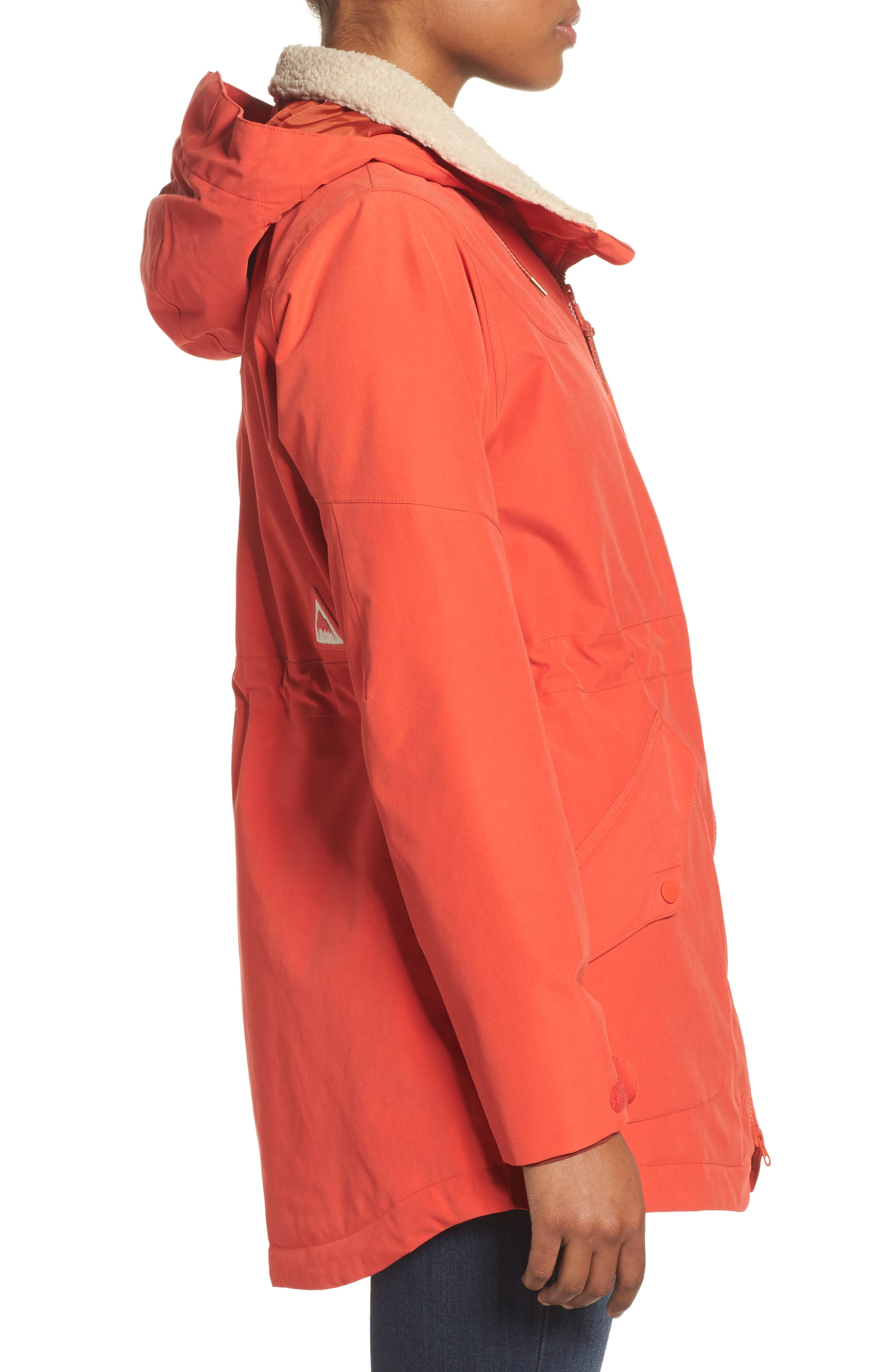 Prowess Fleece Lined Water Resistant Jacket,                             Alternate thumbnail 3, color,                             FIERY RED SUEDED