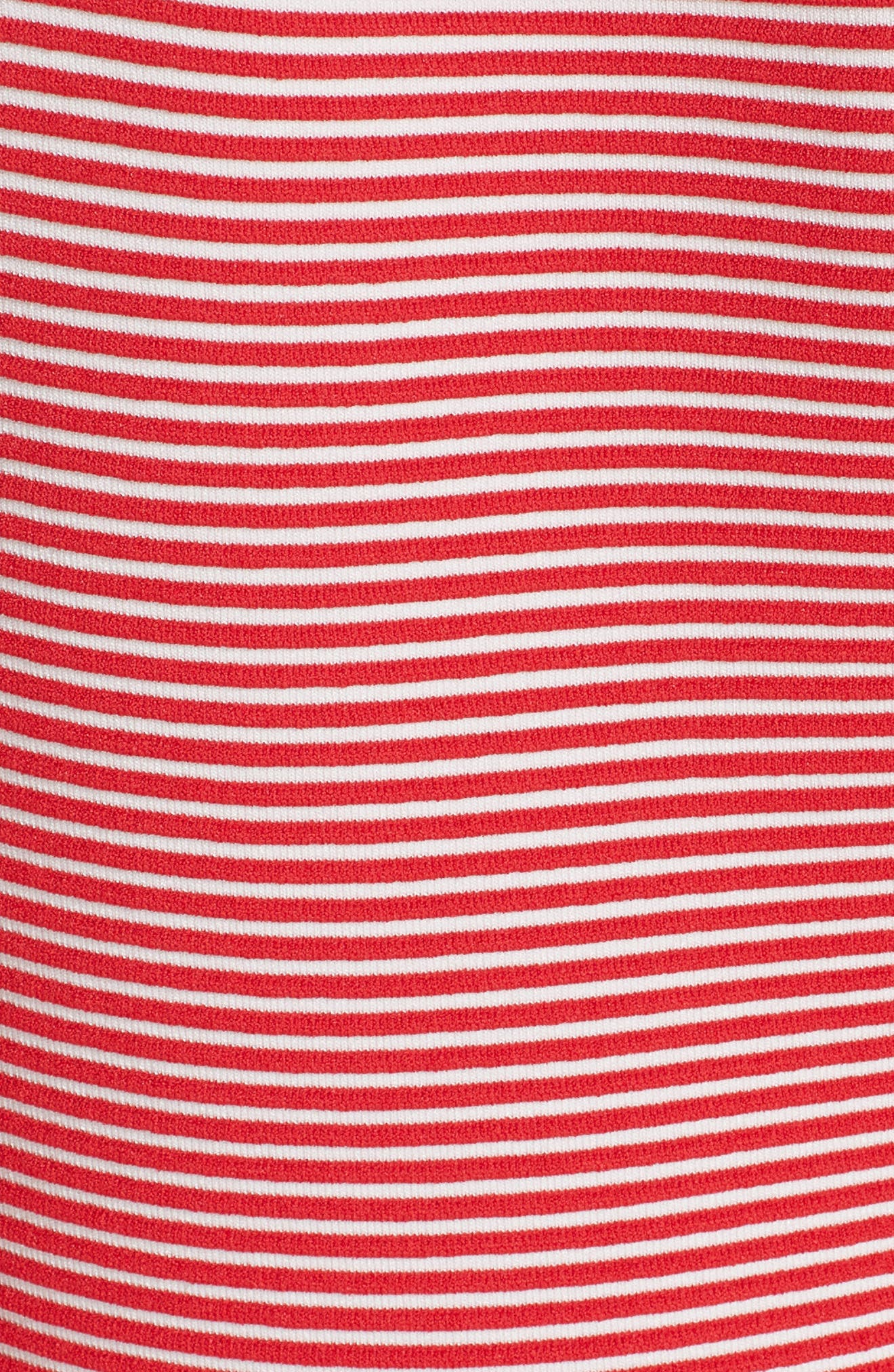 Stripe Knit Jersey Dress,                             Alternate thumbnail 5, color,                             ROSSO VULCANO