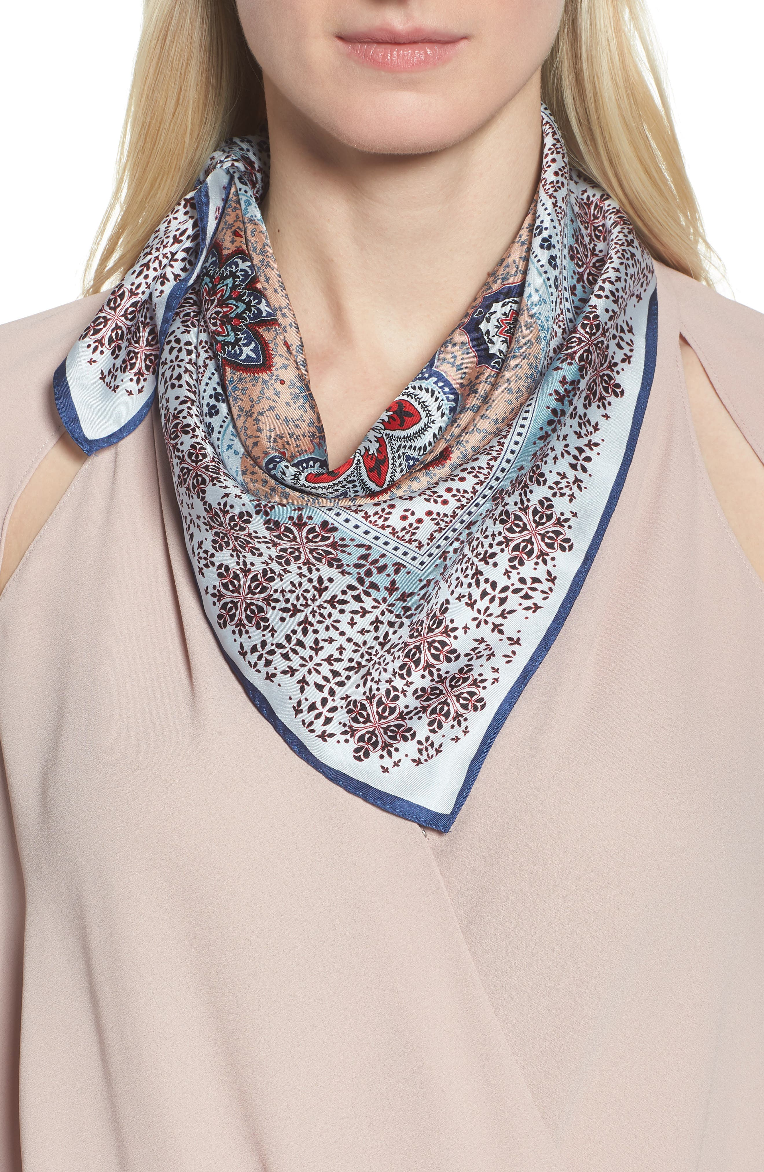 Medallion Print Silk Bandana,                         Main,                         color,