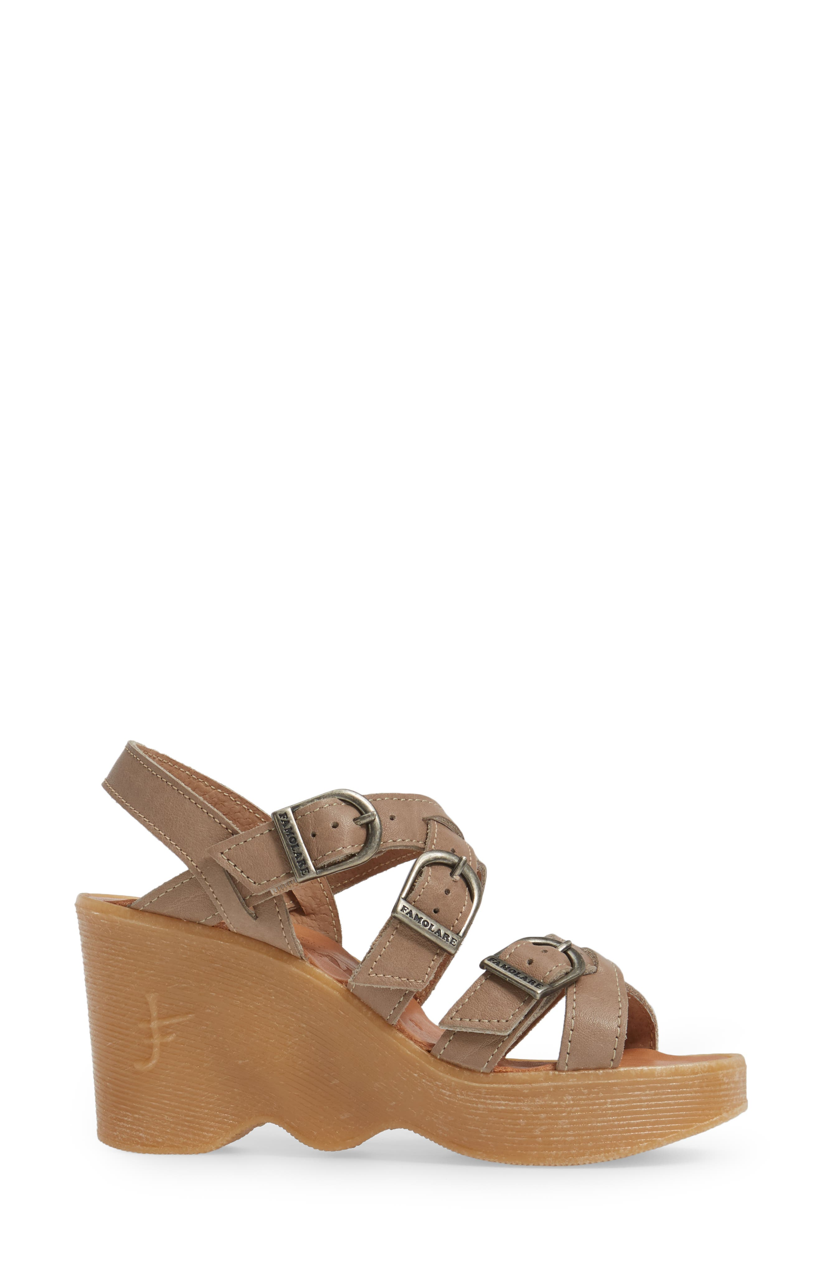Buckle Up Wedge Sandal,                             Alternate thumbnail 3, color,                             SAND LEATHER