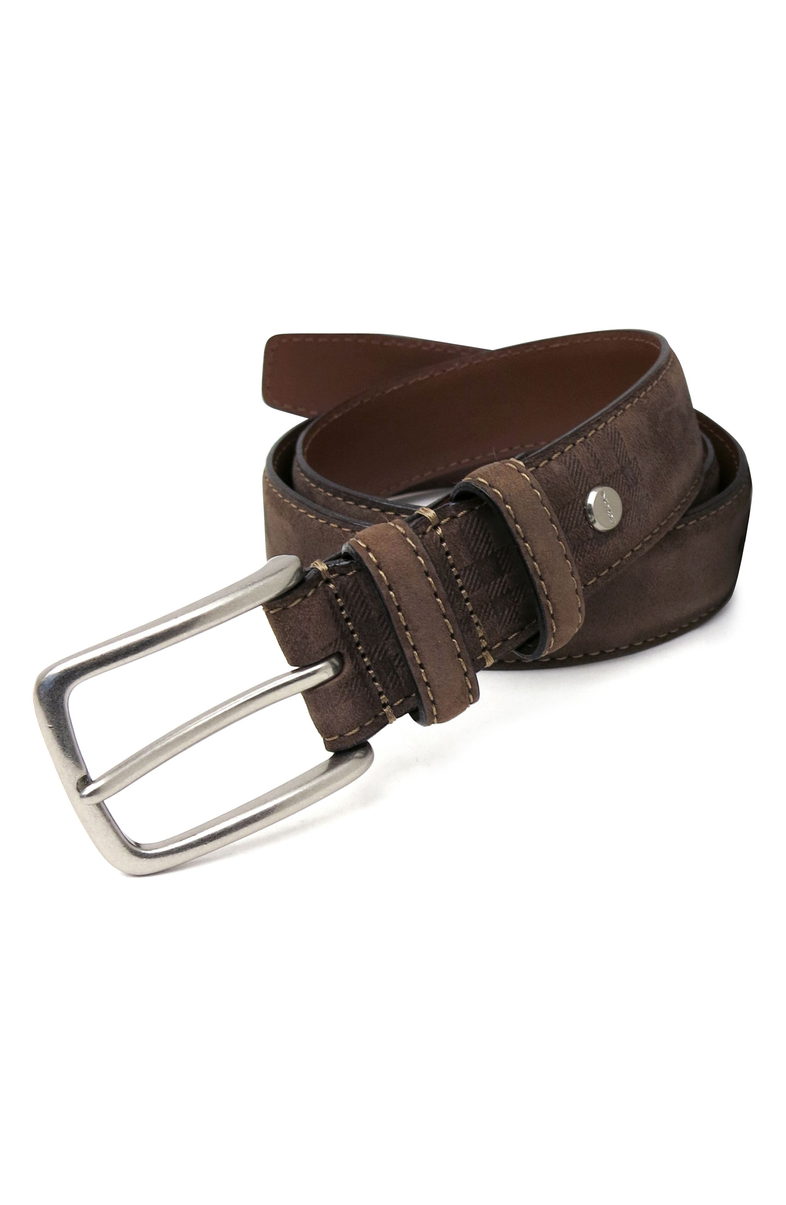 'Tyler' Double Stitched Suede Belt,                             Alternate thumbnail 4, color,                             BROWN