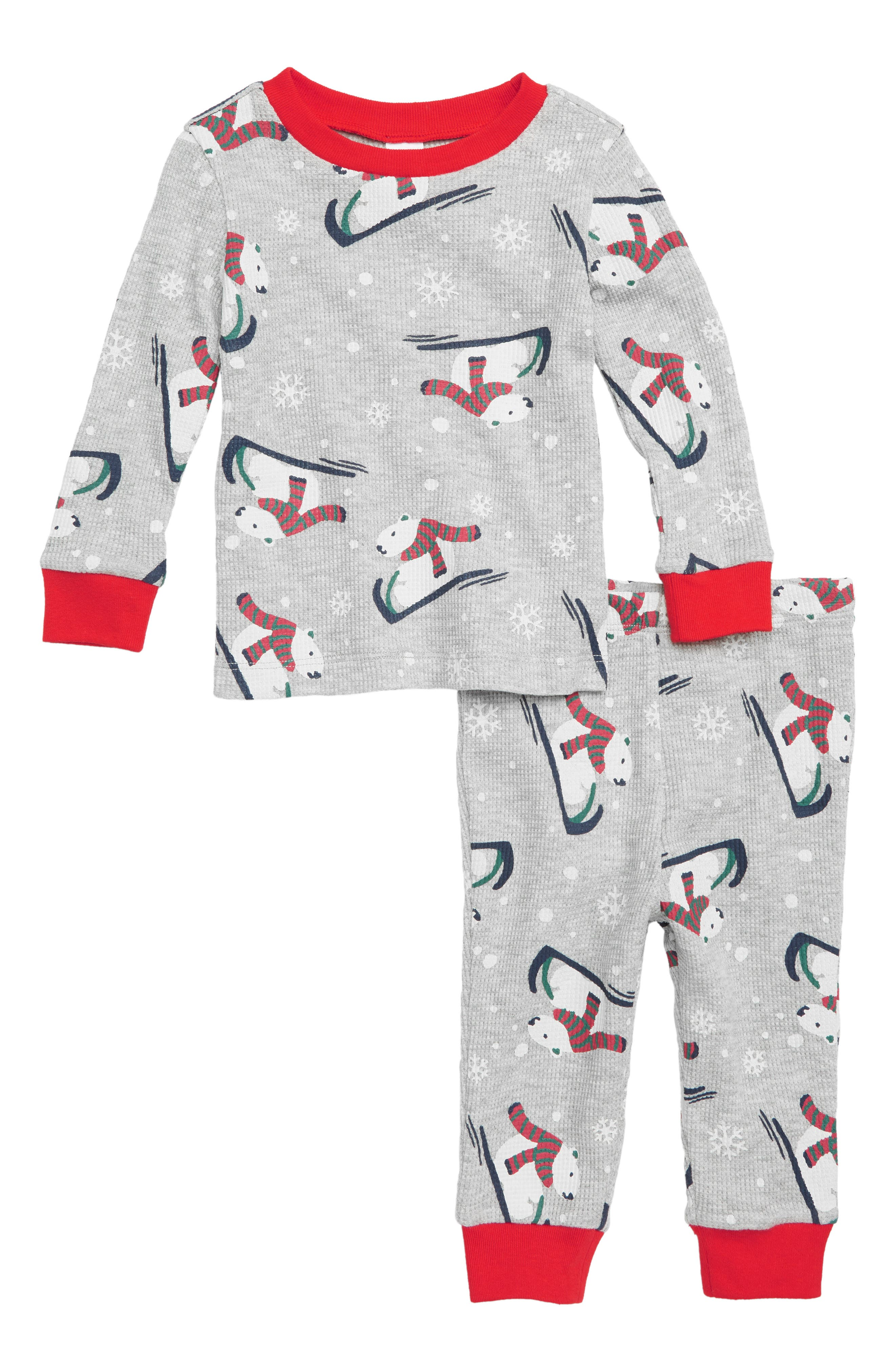 Thermal Fitted Two-Piece Pajamas,                         Main,                         color, GREY PEARL HEATHER POLAR BEAR