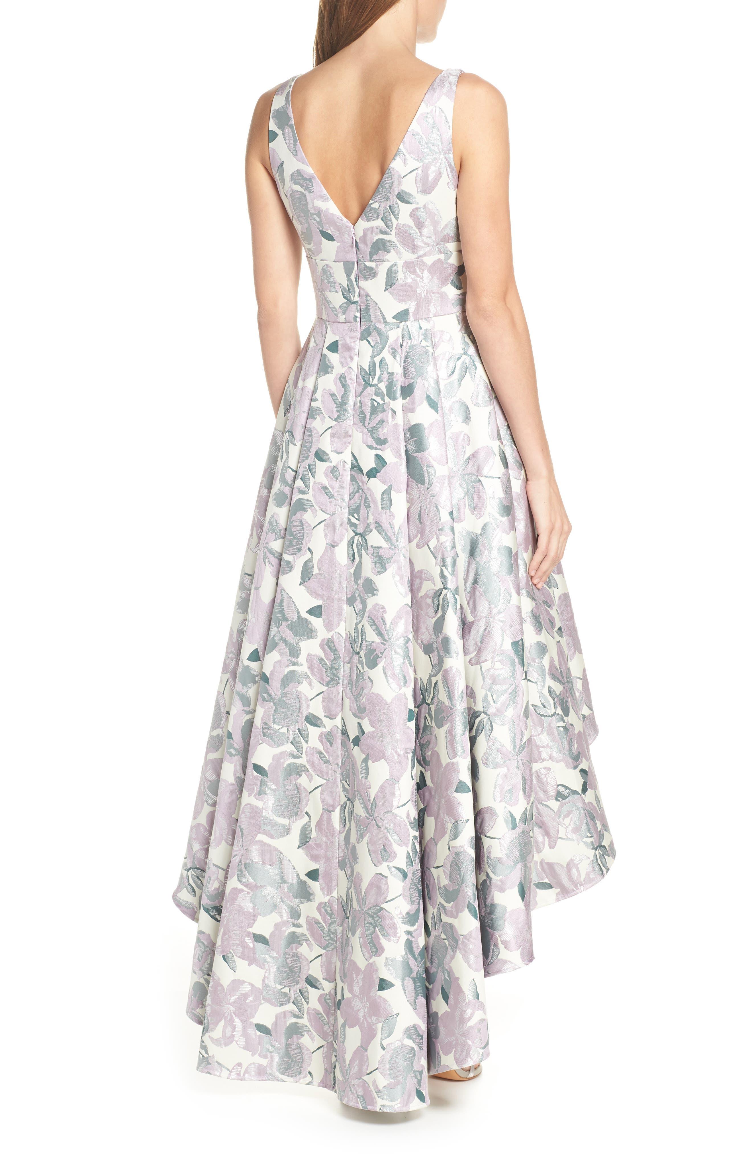 Floral Jacquard High/Low Evening Dress,                             Alternate thumbnail 2, color,                             LILAC COMBINATION