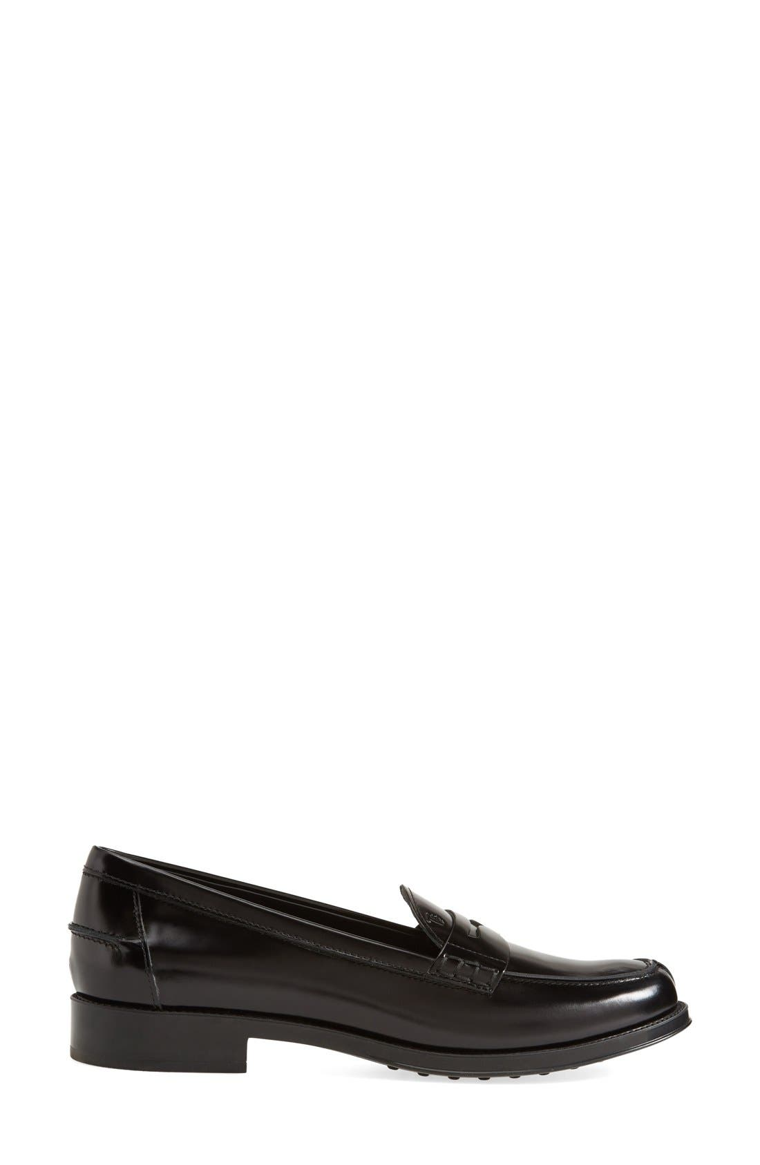 Penny Loafer,                             Alternate thumbnail 4, color,                             BLACK LEATHER