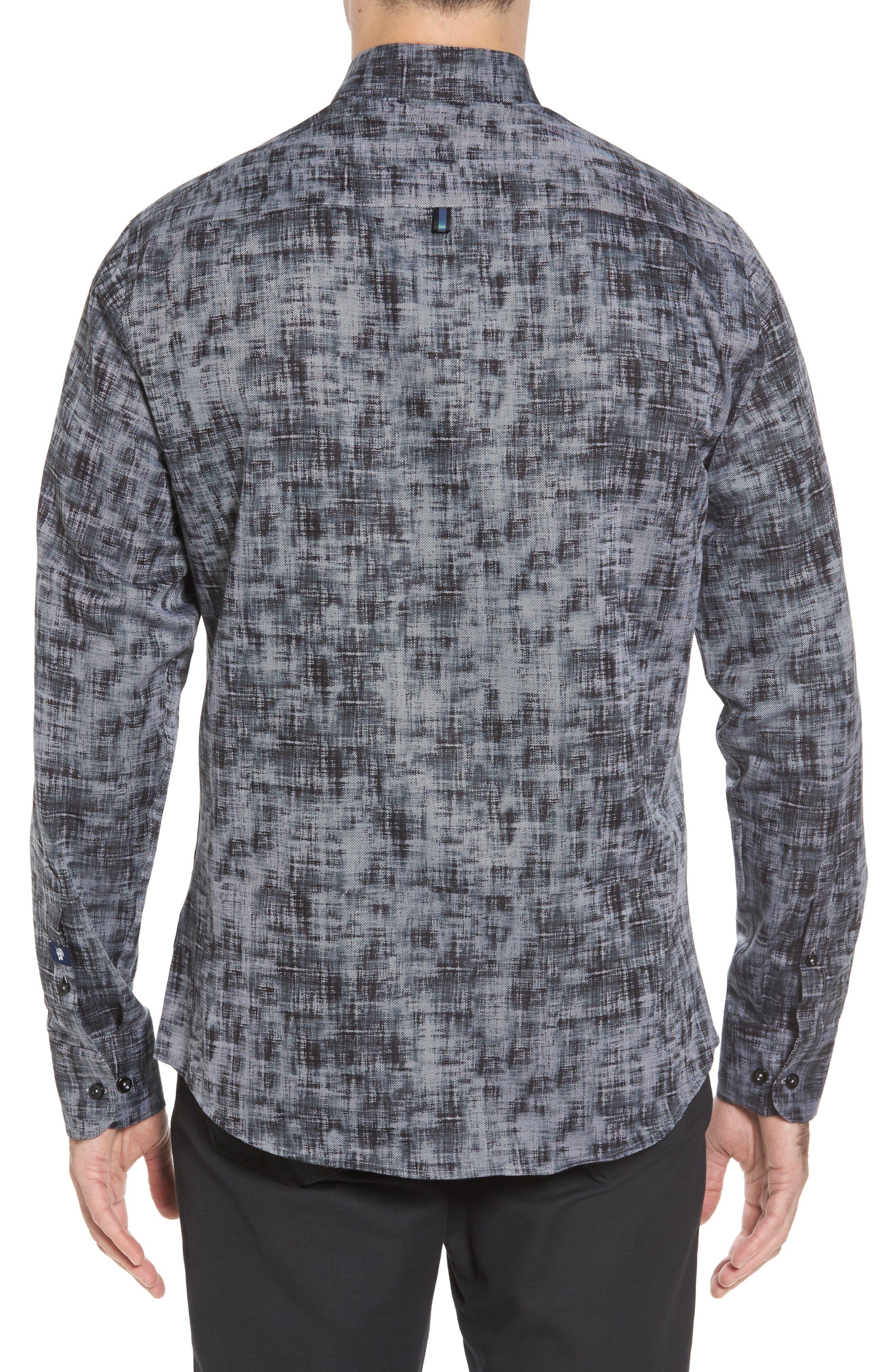 Slim Fit Twill FX Print Sport Shirt,                             Alternate thumbnail 2, color,                             001