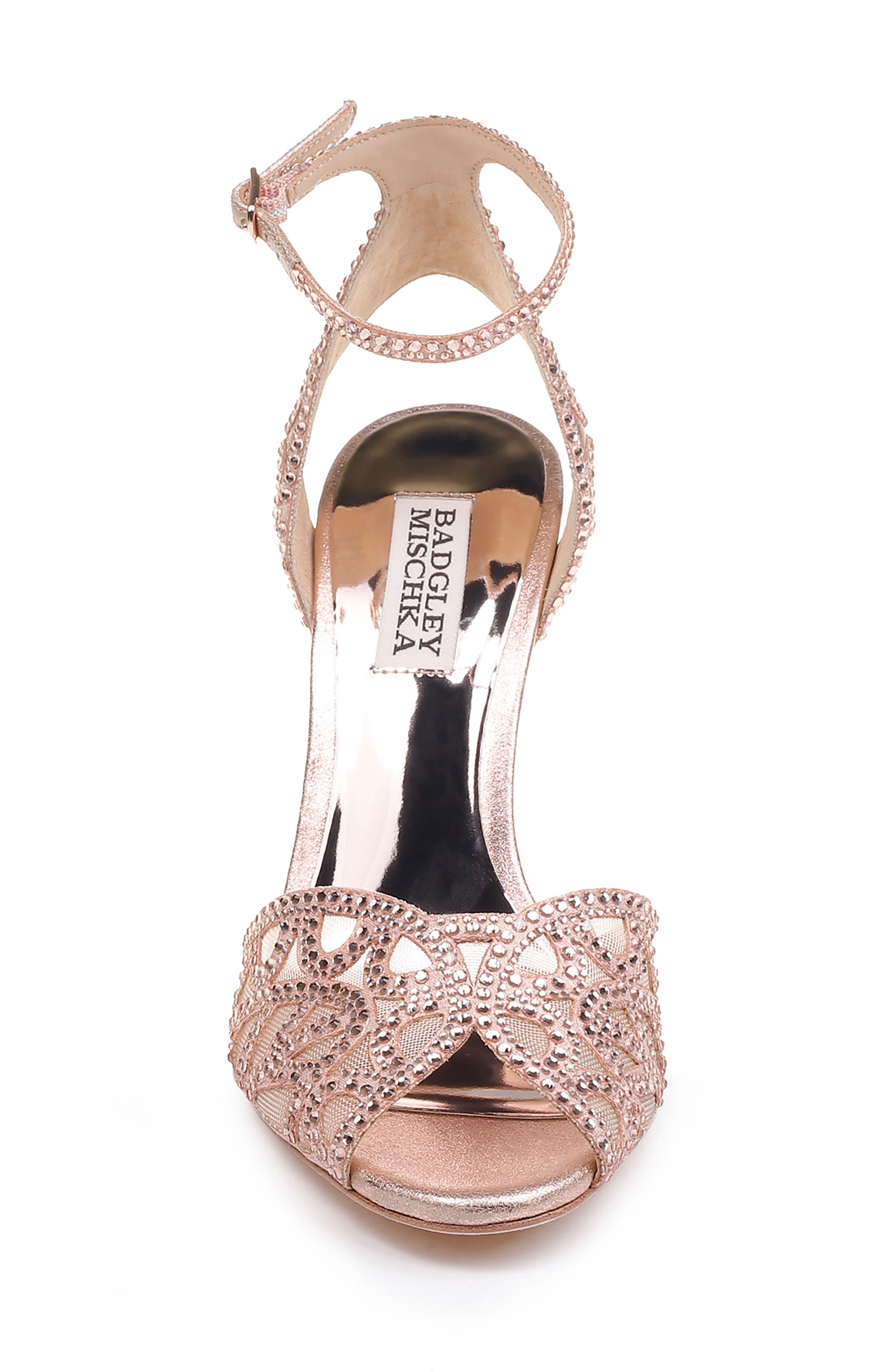 Hart Crystal Embellished Sandal,                             Alternate thumbnail 4, color,                             ROSE GOLD METALLIC SUEDE