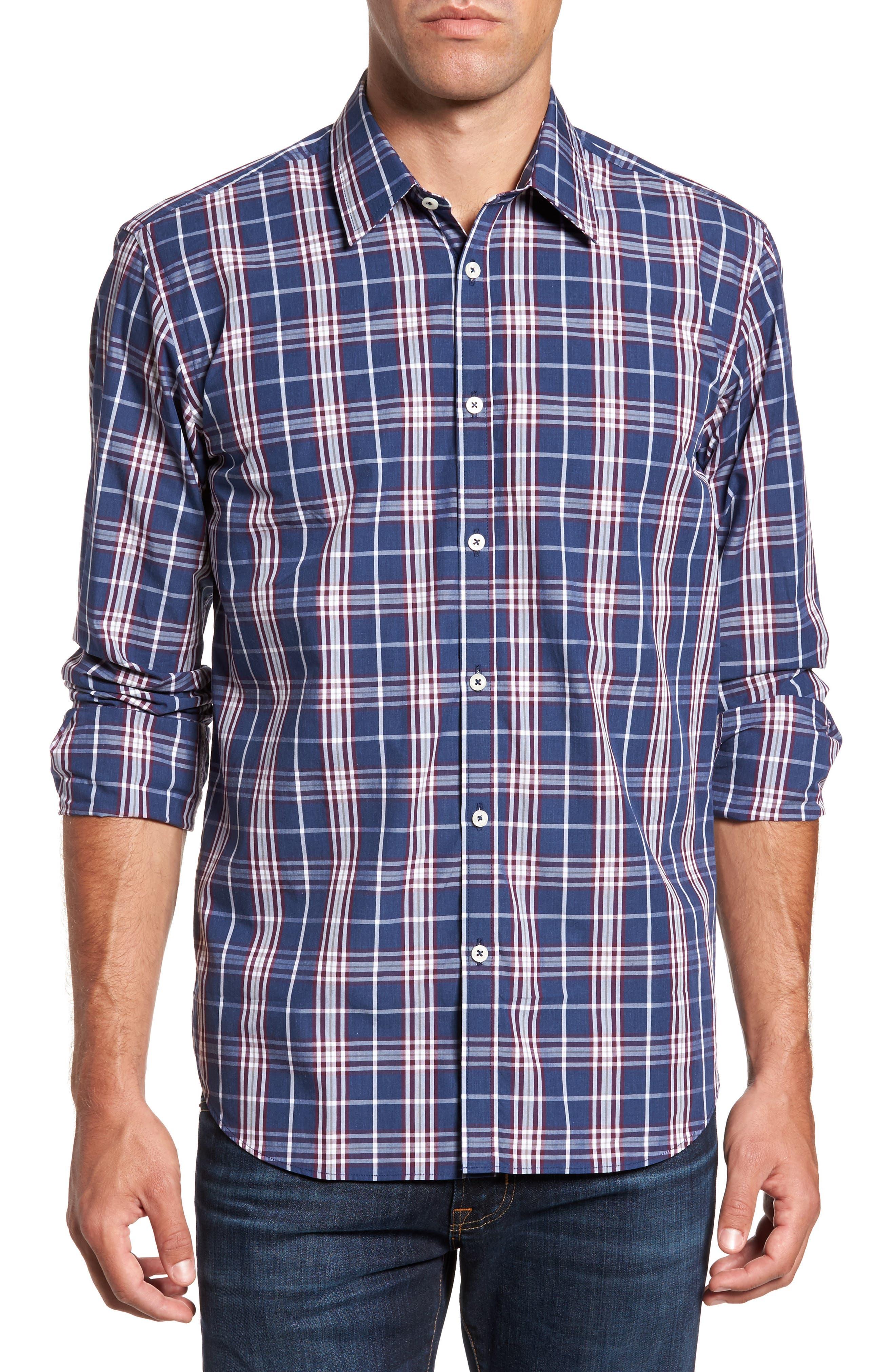 Comfort Fit Plaid Sport Shirt,                             Main thumbnail 1, color,