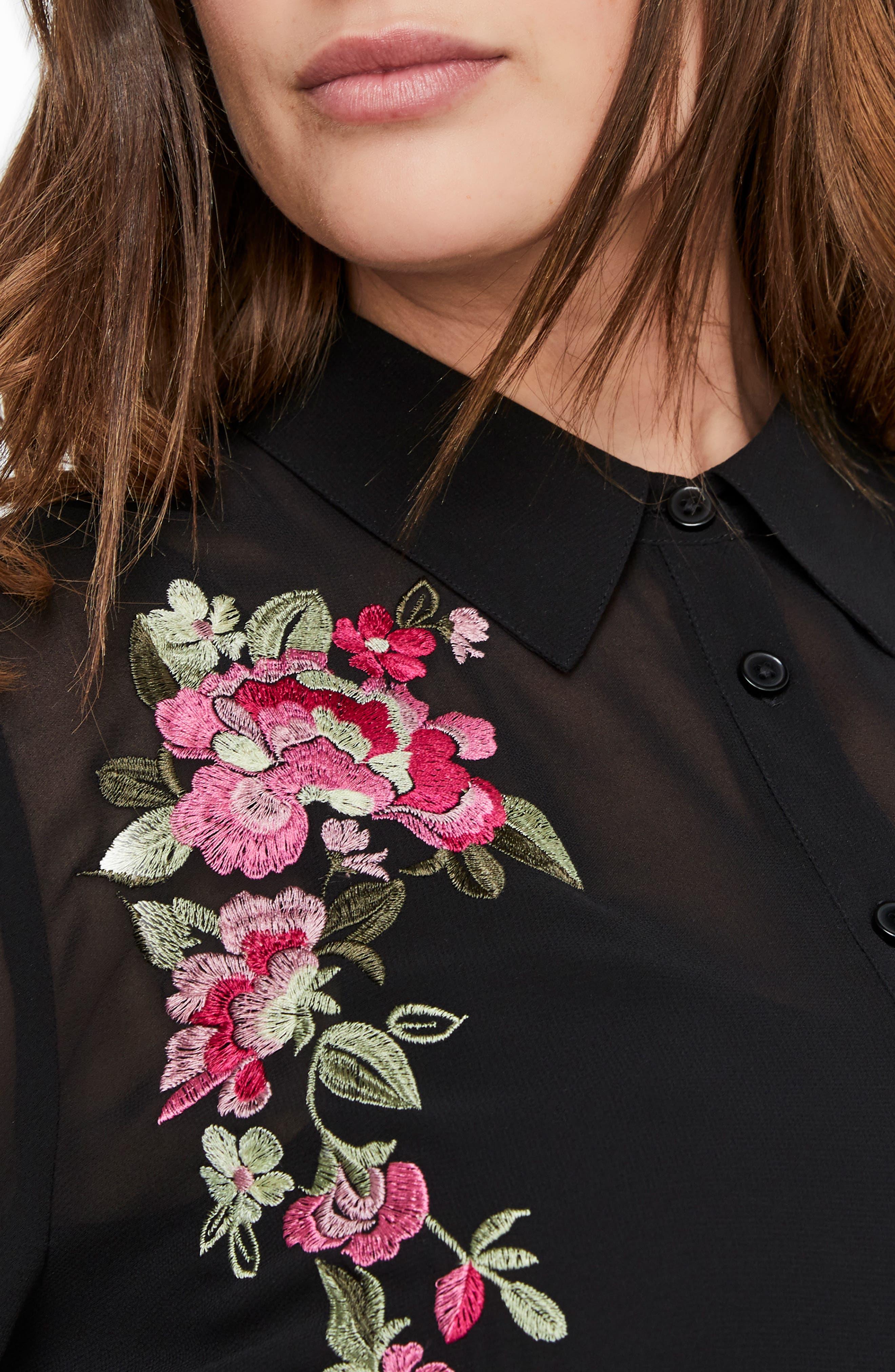 MICHEL STUDIO,                             Embroidered Flower Sheer Shirt,                             Alternate thumbnail 3, color,                             001