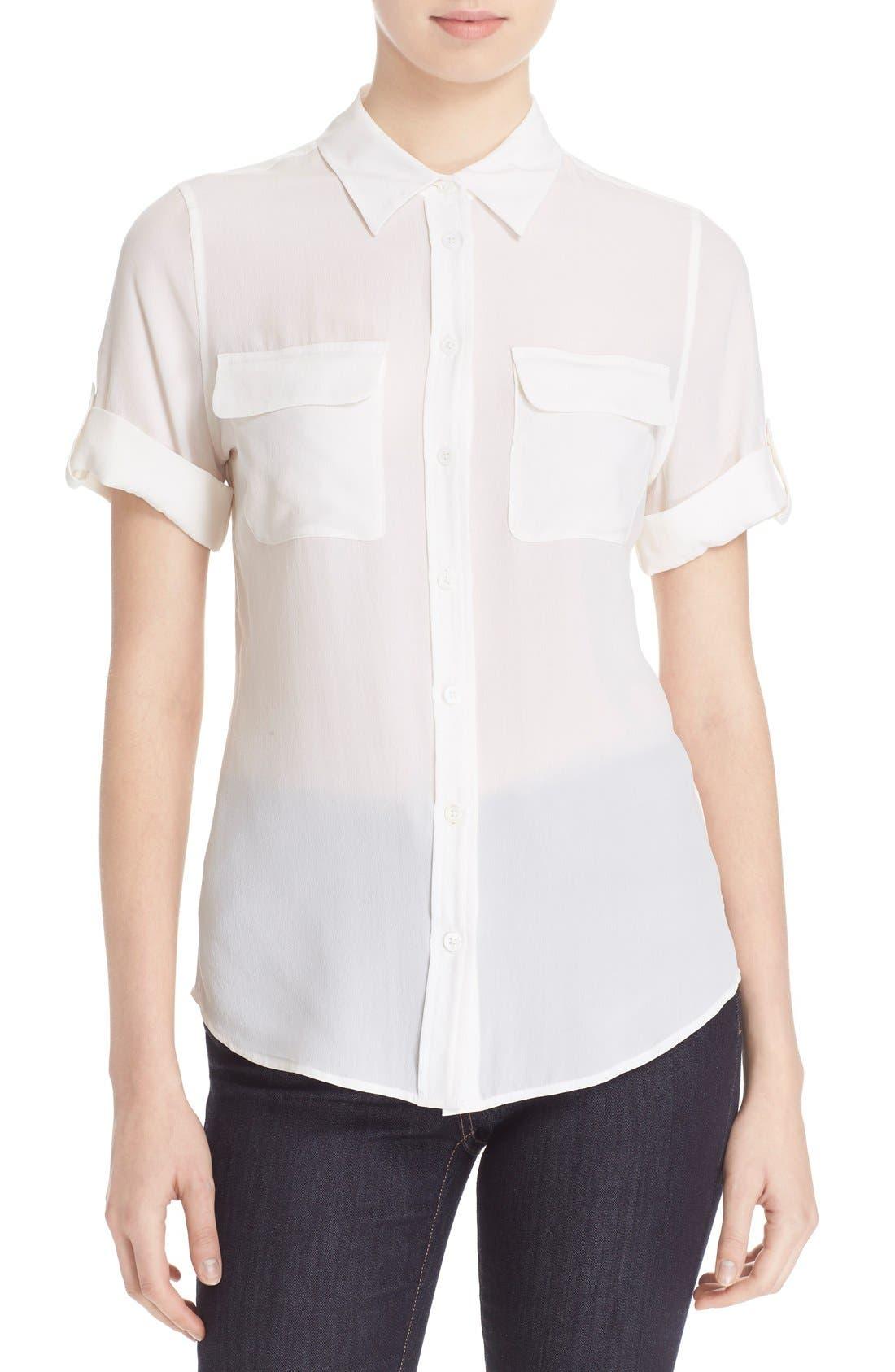 Slim Signature Short Sleeve Silk Shirt,                             Main thumbnail 1, color,                             111