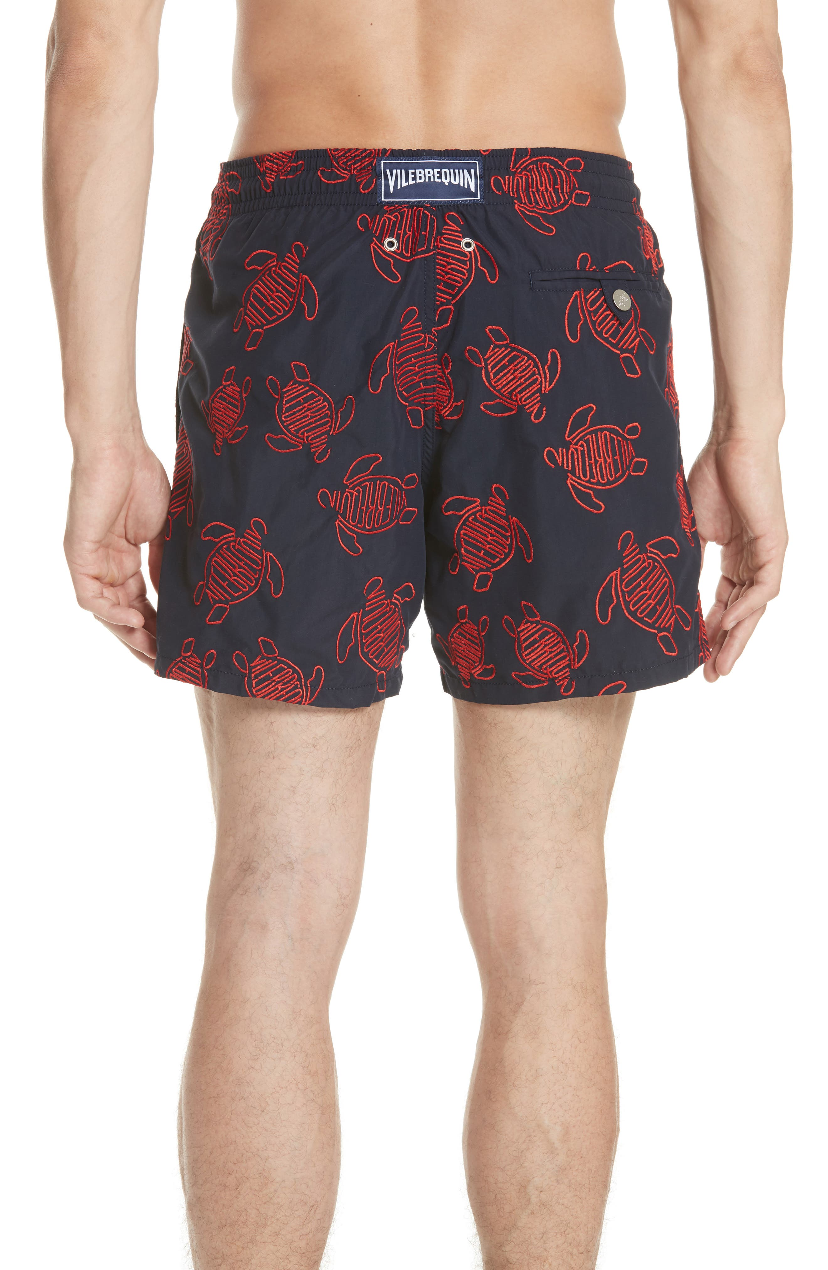 Embroidered Turtle Swim Trunks,                             Alternate thumbnail 2, color,                             NAVY