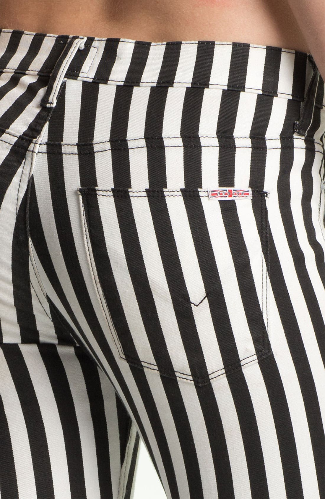 'Krista' Stripe Super Skinny Jeans,                             Alternate thumbnail 3, color,                             001