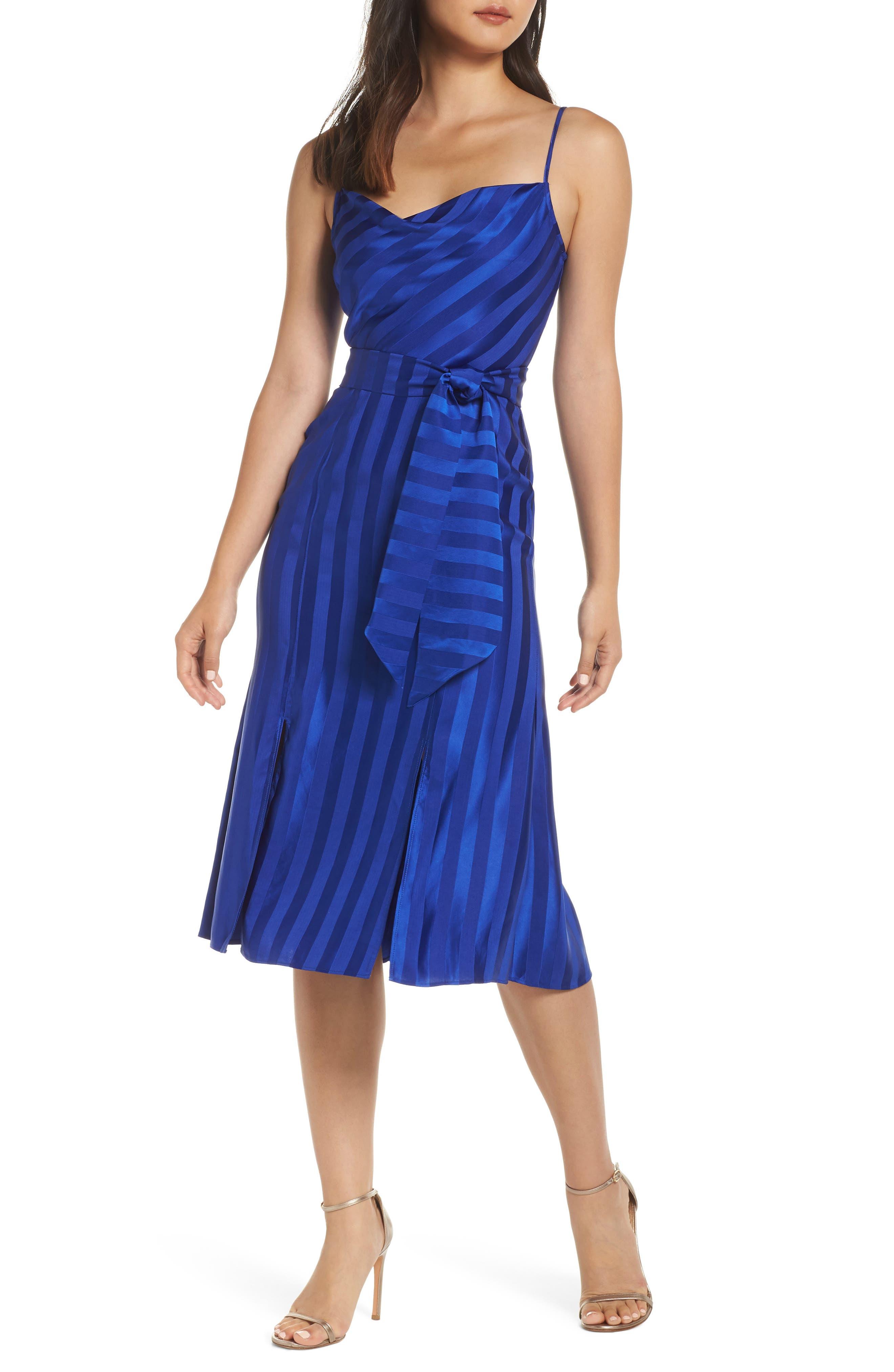 Keepsake The Label Abound Shadow Stripe Tea Length Dress, Blue