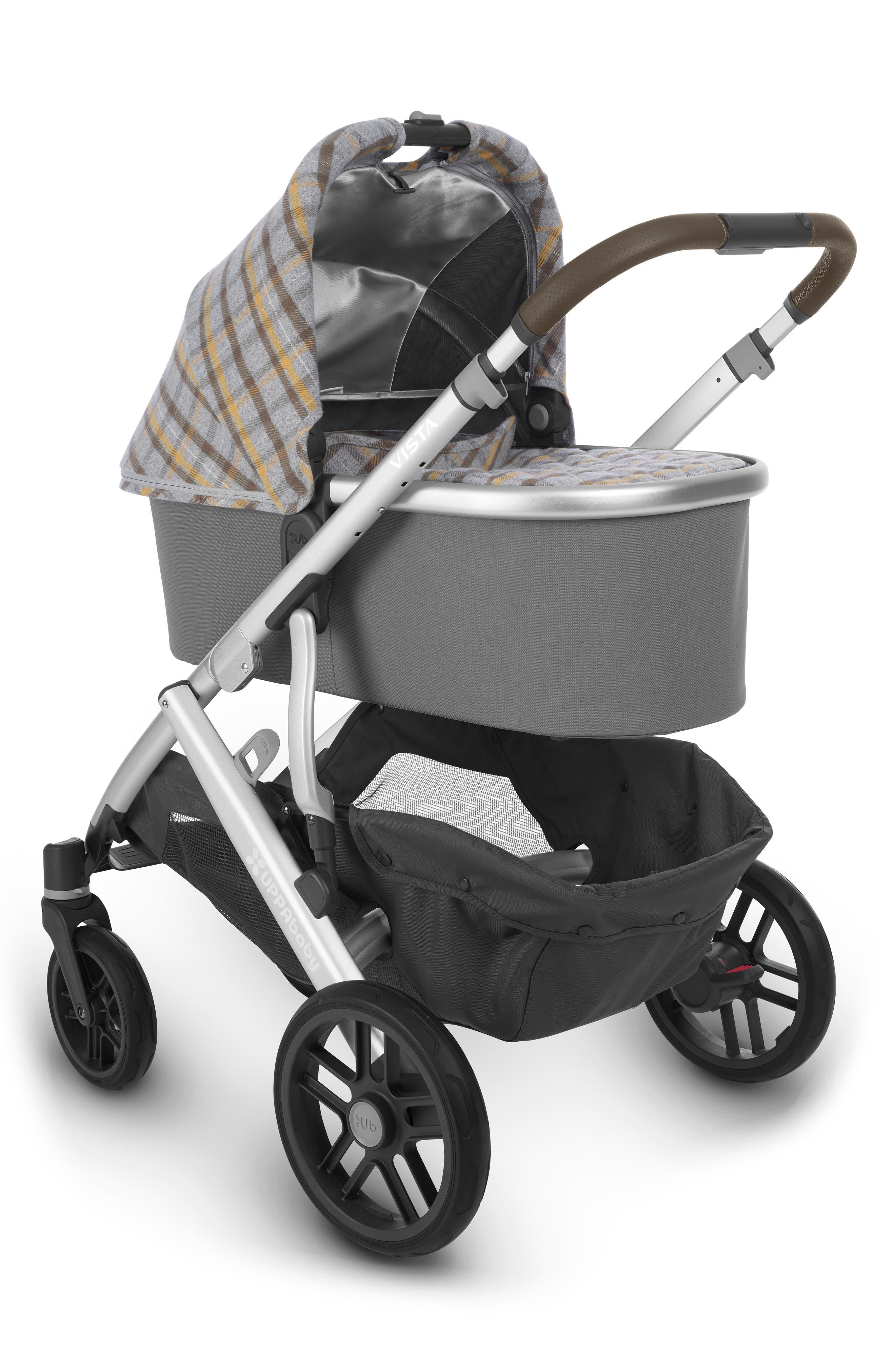 VISTA Spenser Convertible Stroller with Bassinet & Toddler Seat,                             Alternate thumbnail 3, color,                             GREY/ YELLOW TARTAN