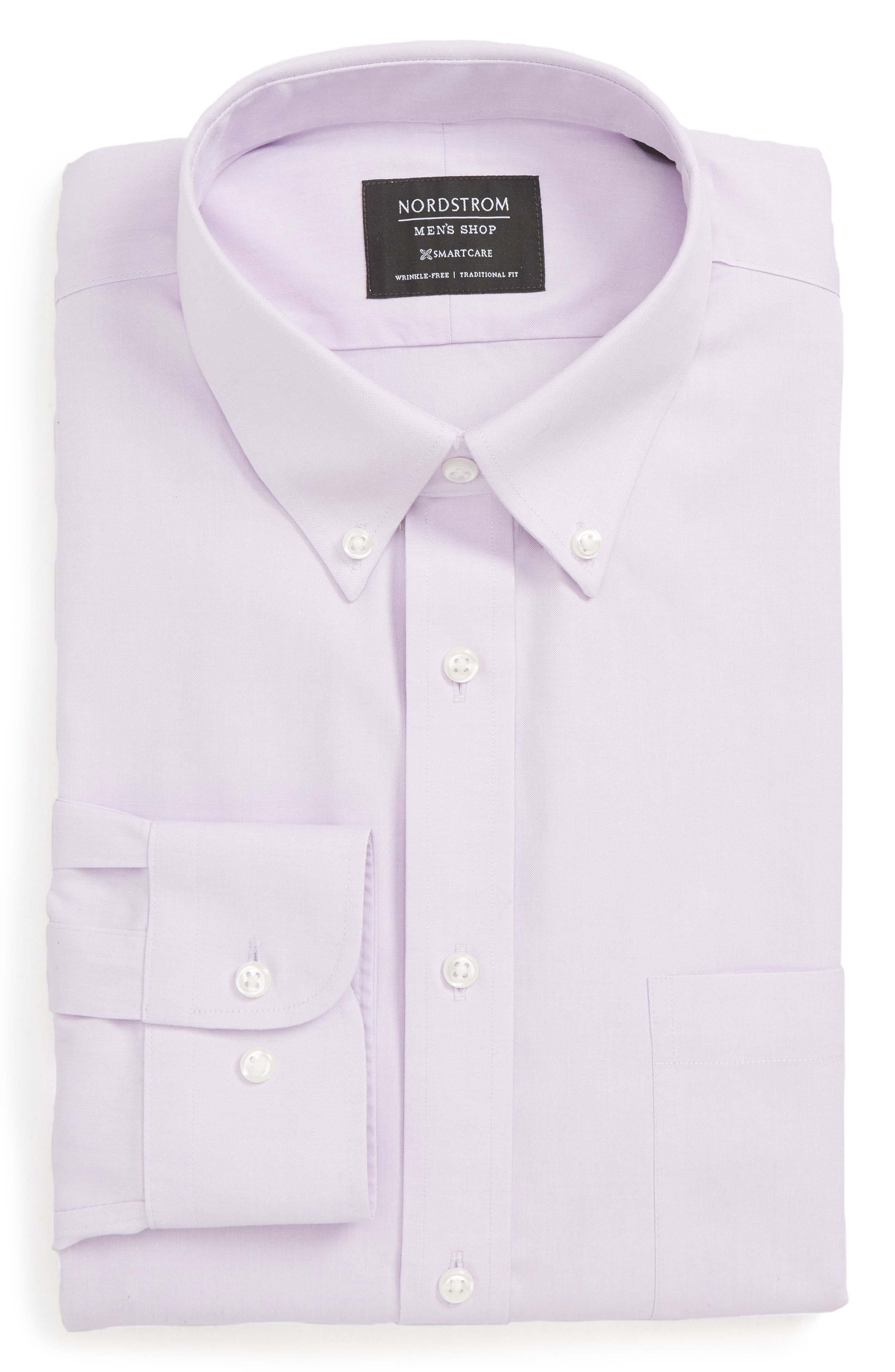 Nordstrom Shop Smartcare(TM) Traditional Fit Pinpoint Dress Shirt, 5.5 34/35 - Purple