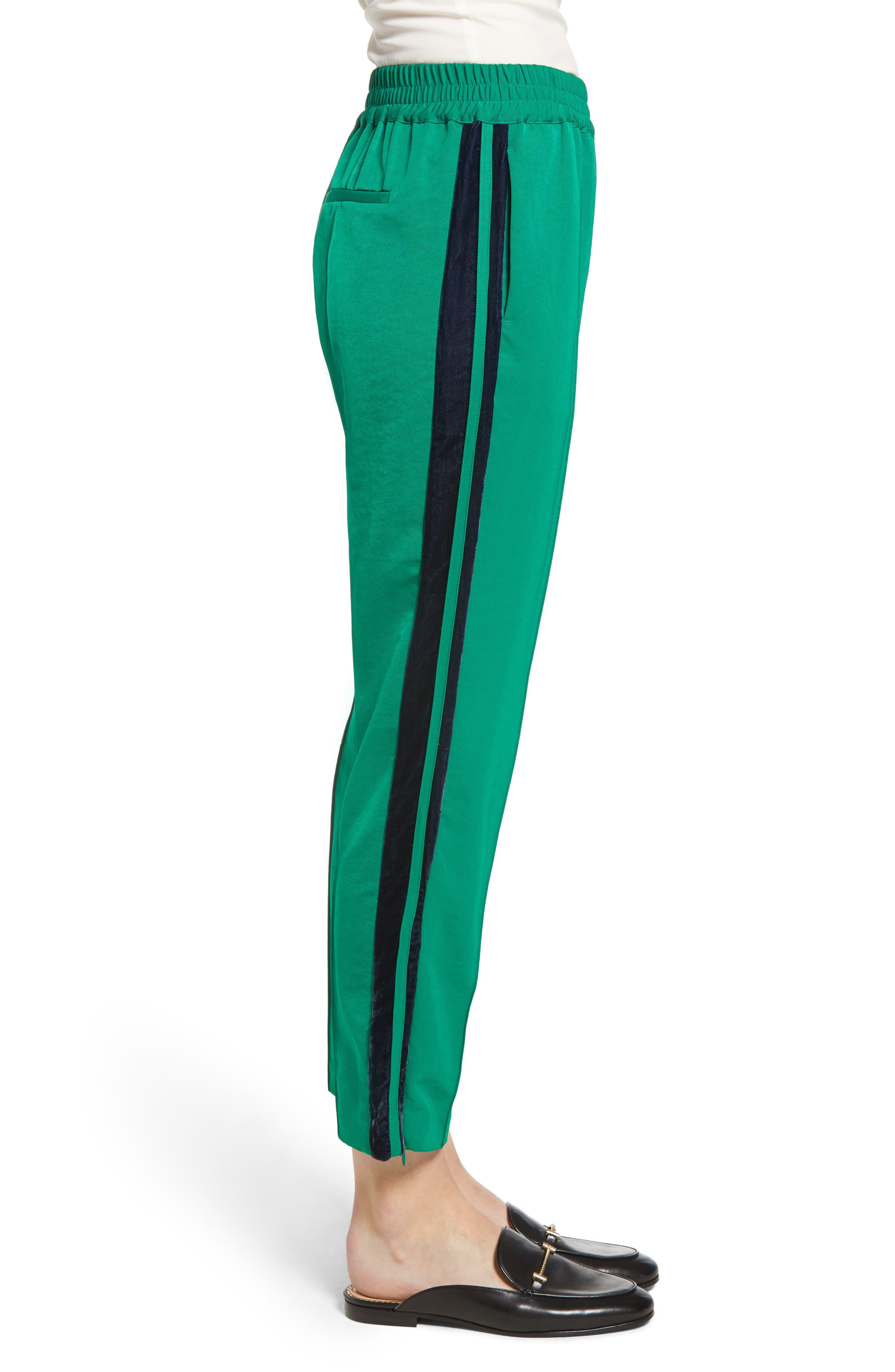 Velvet Stripe Satin Track Pants,                             Alternate thumbnail 3, color,                             310