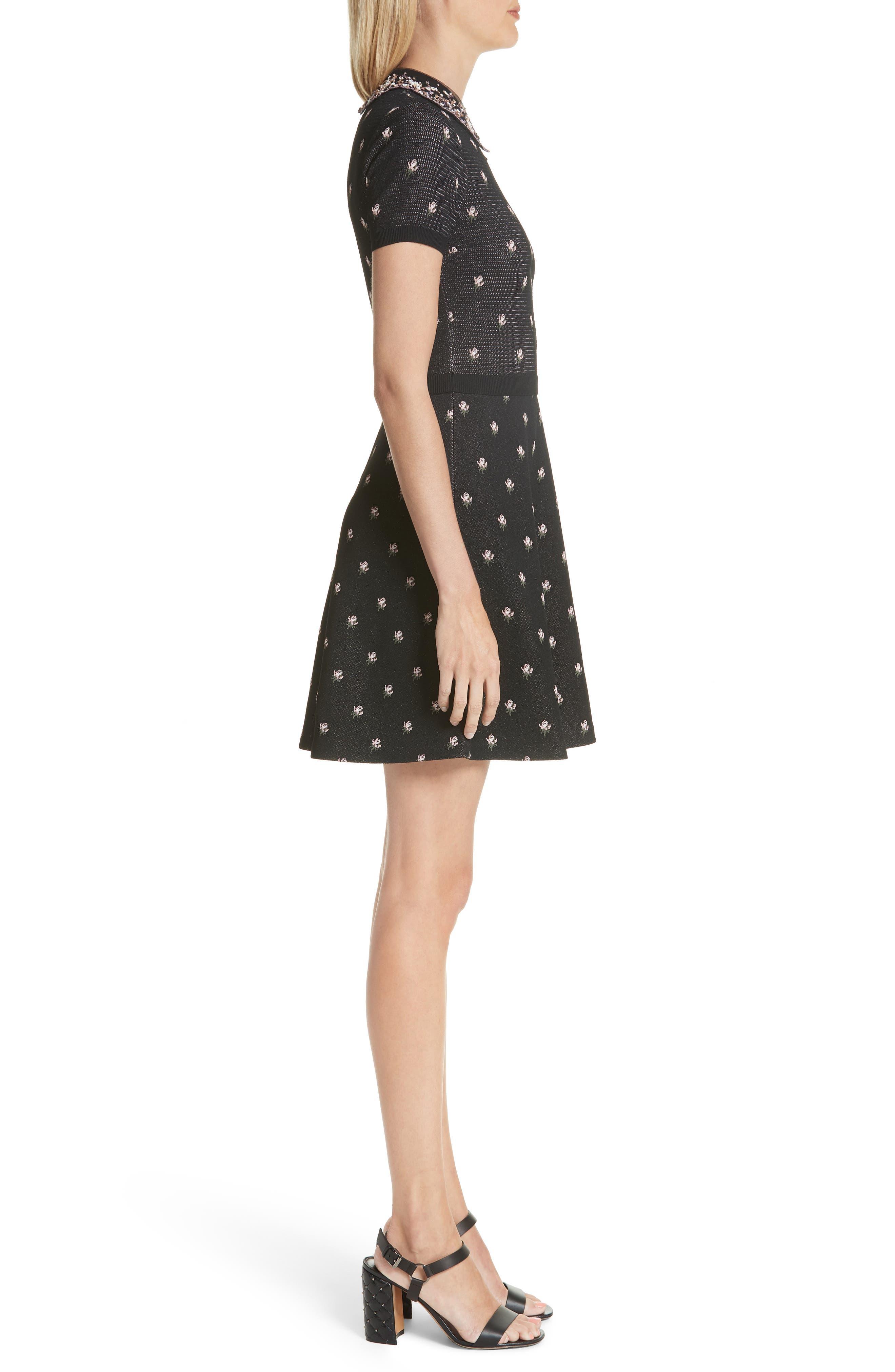 Embellished Collar Floral Jacquard Dress,                             Alternate thumbnail 3, color,                             001