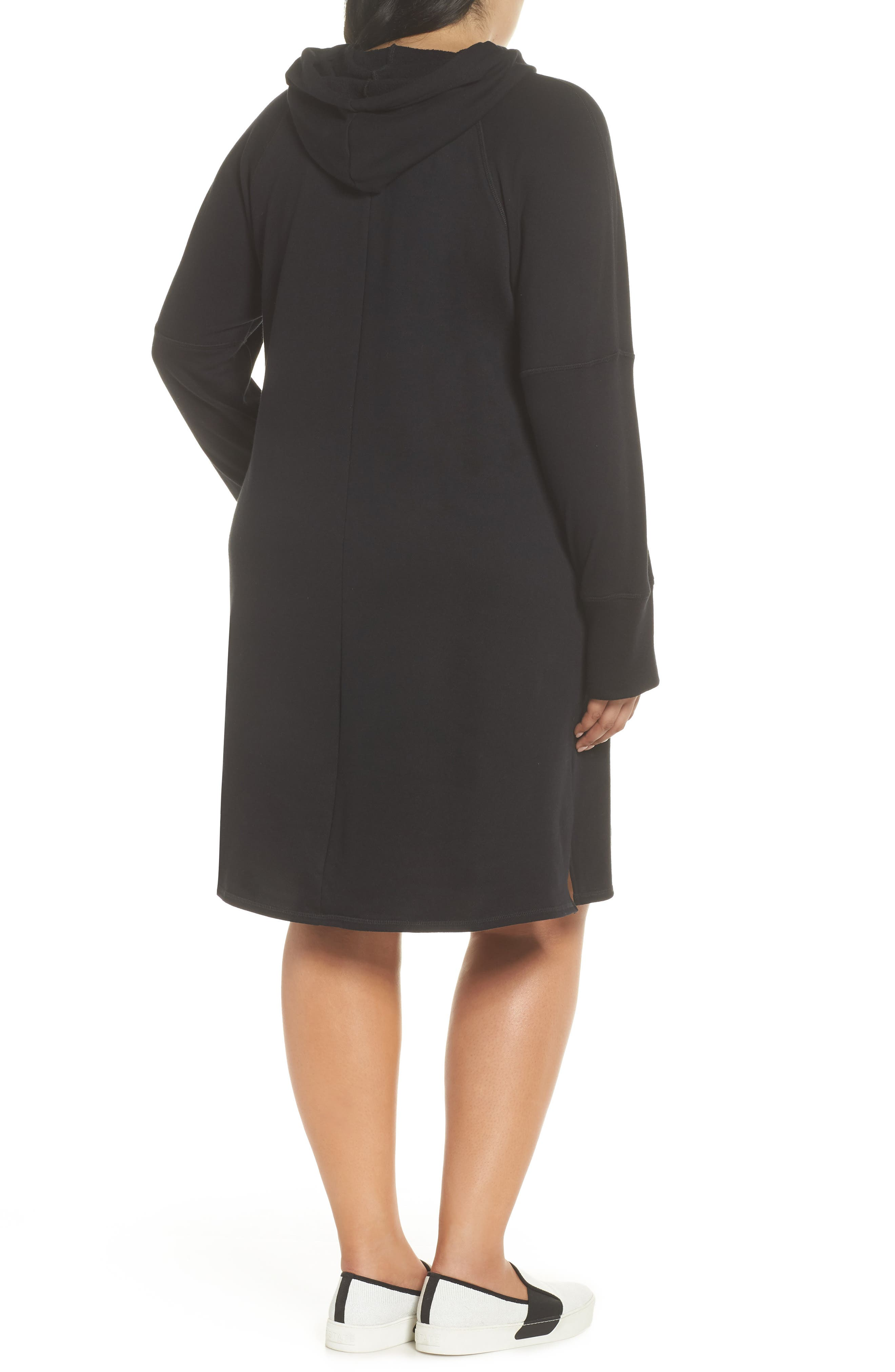 Hooded French Terry Dress,                             Alternate thumbnail 2, color,                             001