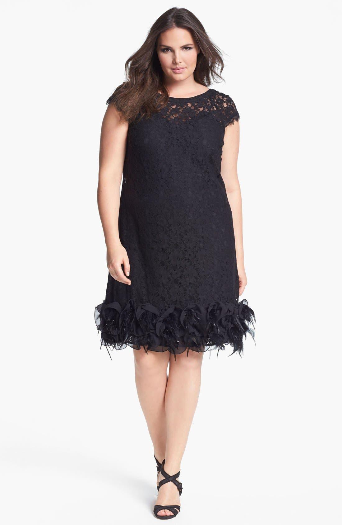 Feather Trim Lace Dress,                         Main,                         color, 001