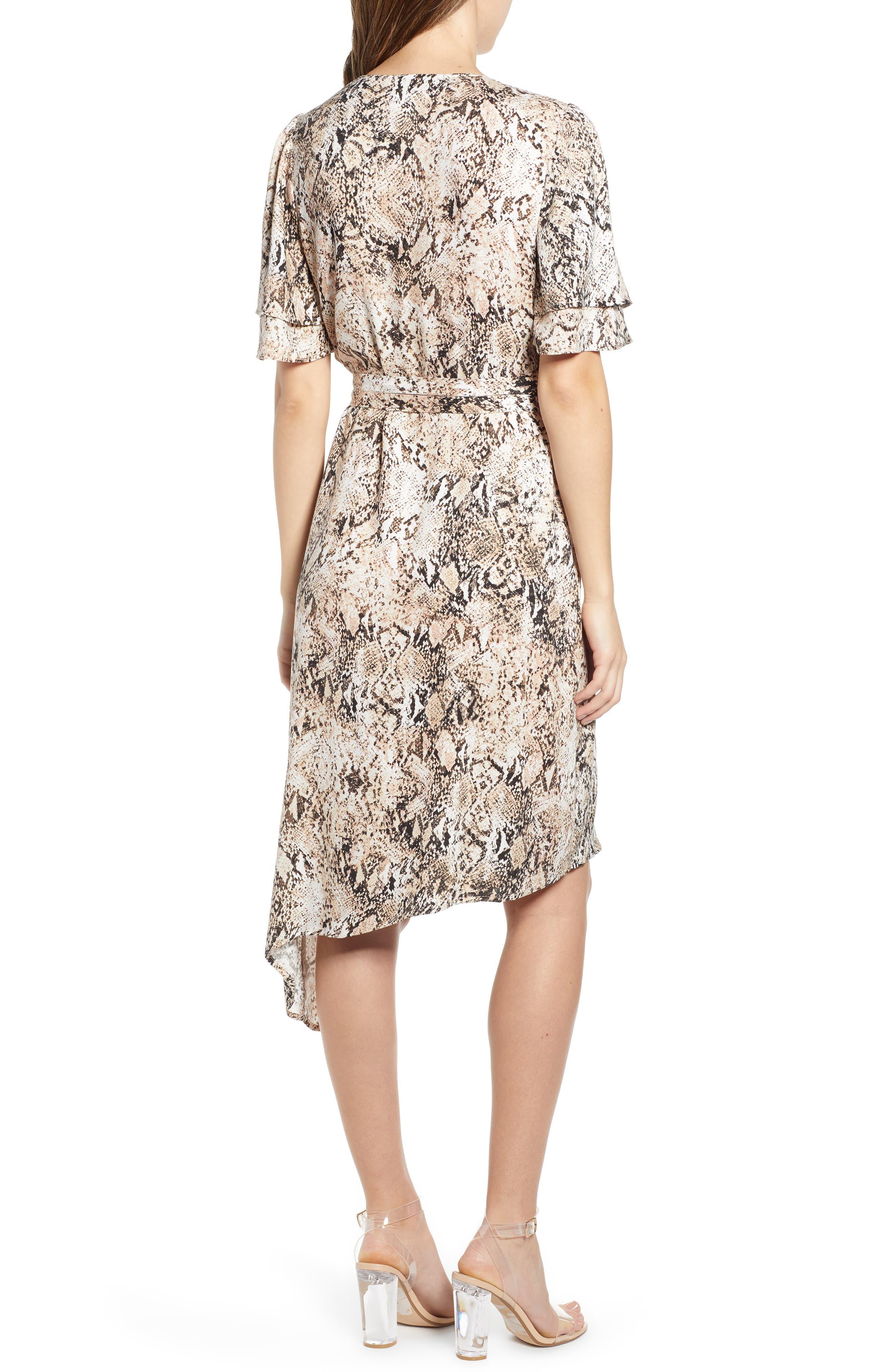 LEITH,                             Ruffle Sleeve Wrap Dress,                             Alternate thumbnail 2, color,                             IVORY SNAKE PRINT