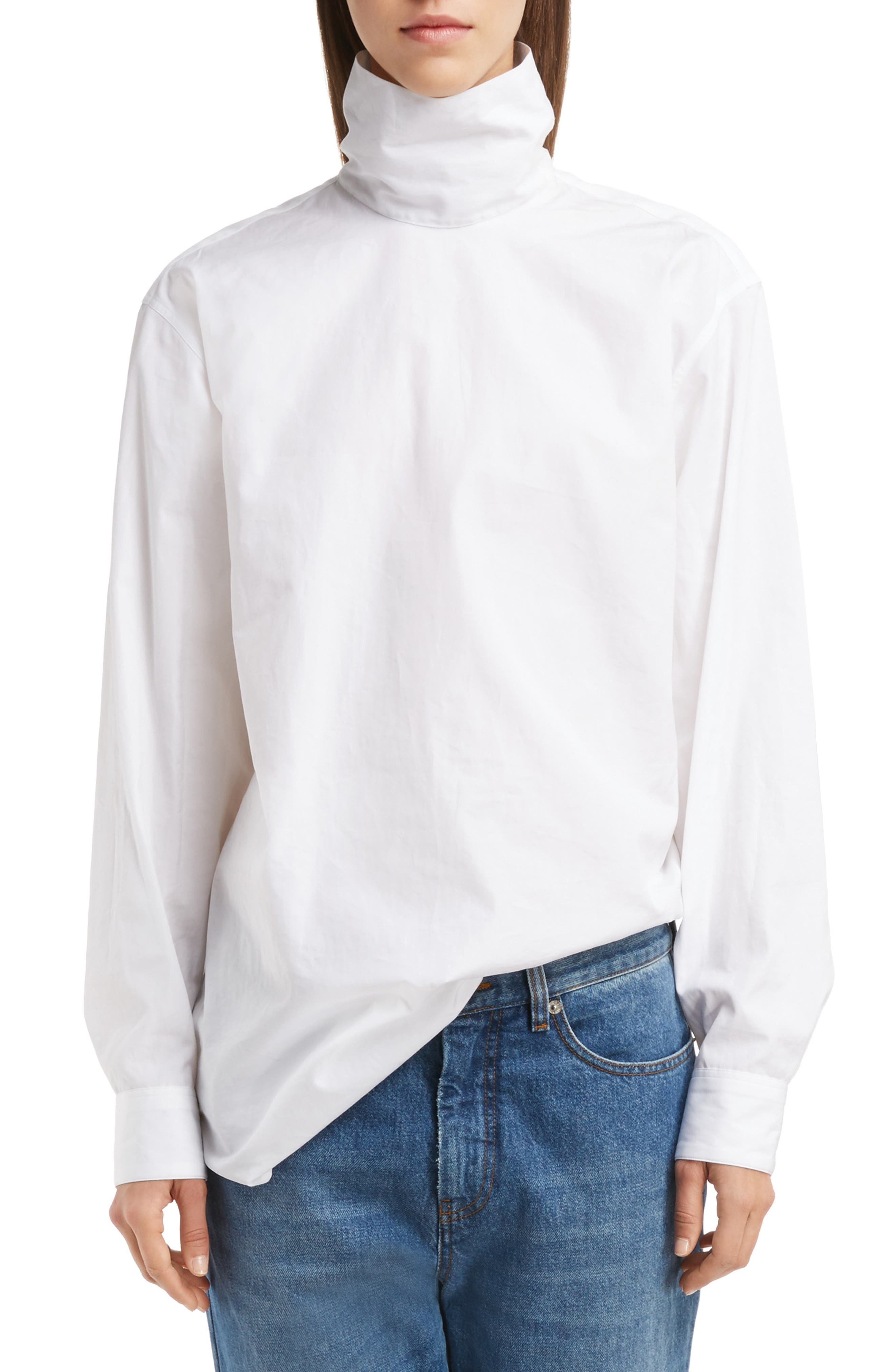 Cotton Poplin Mock Neck Blouse,                             Main thumbnail 1, color,                             100