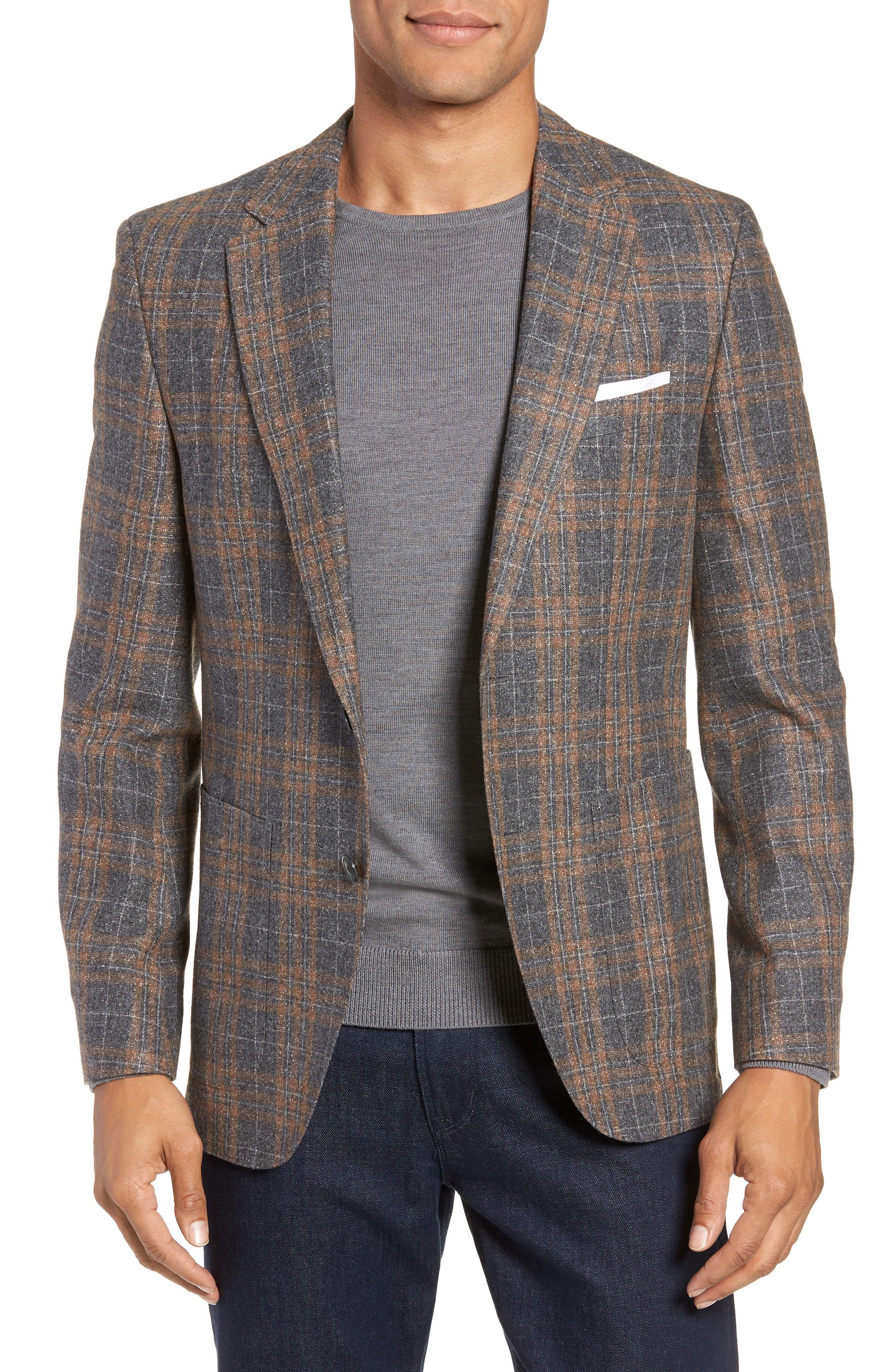 BOSS Janson Classic Fit Plaid Wool Blend Sport Coat, Main, color, MEDIUM GREY