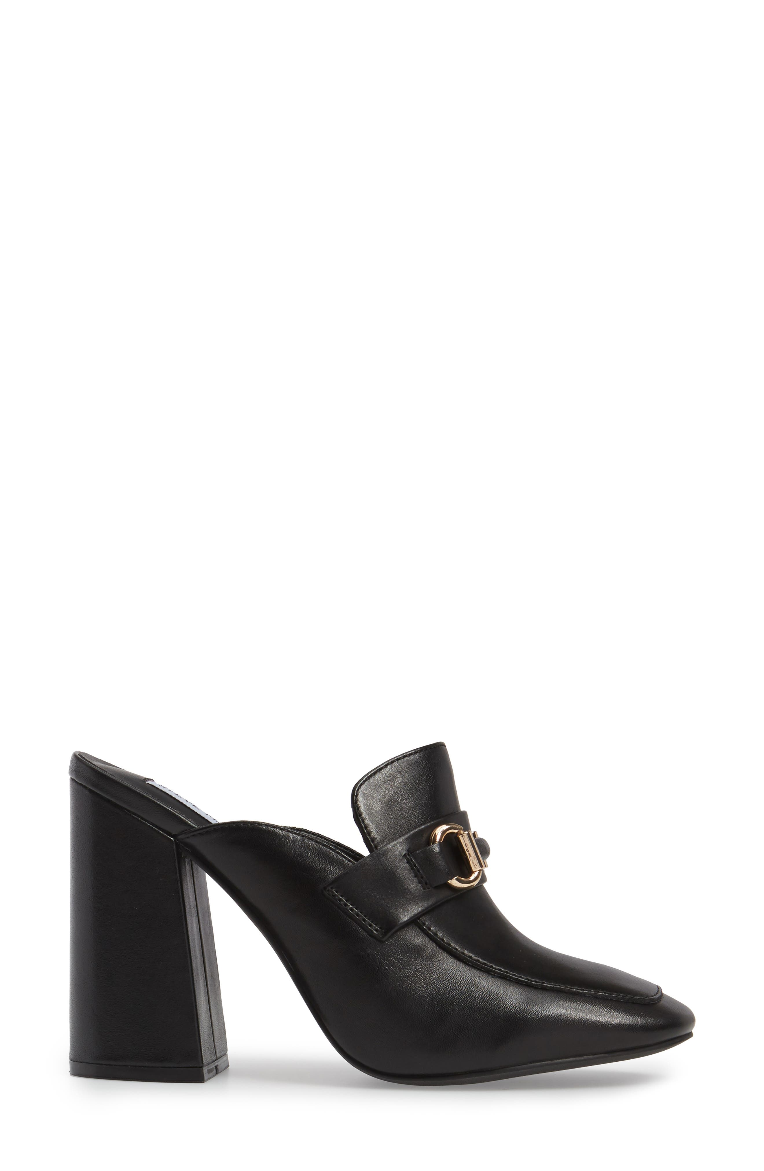 Chuckie Flared Heel Loafer Mule,                             Alternate thumbnail 3, color,                             001