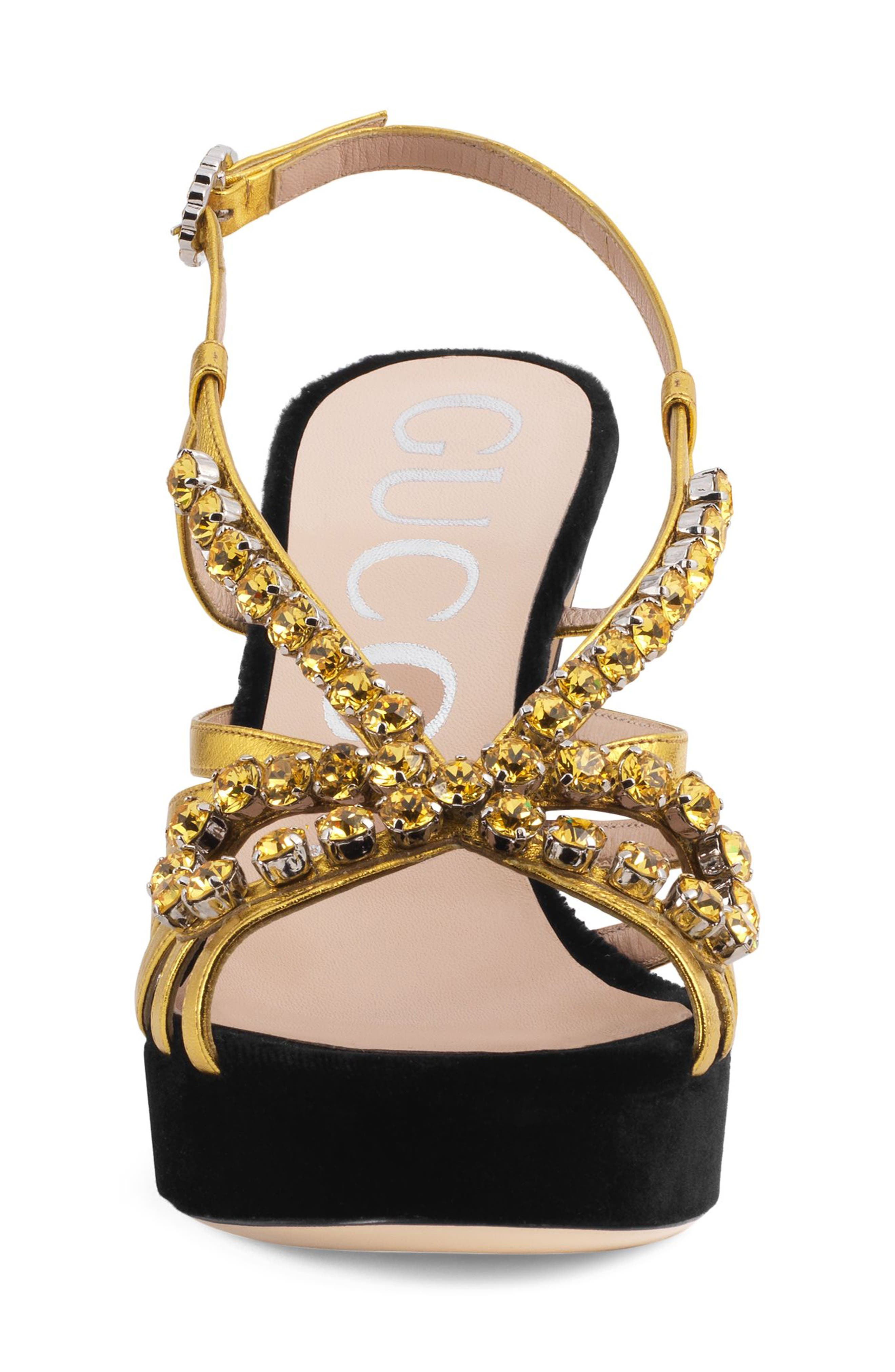 Zephyra Jewel Sandal,                             Alternate thumbnail 3, color,                             BLACK/ GOLD