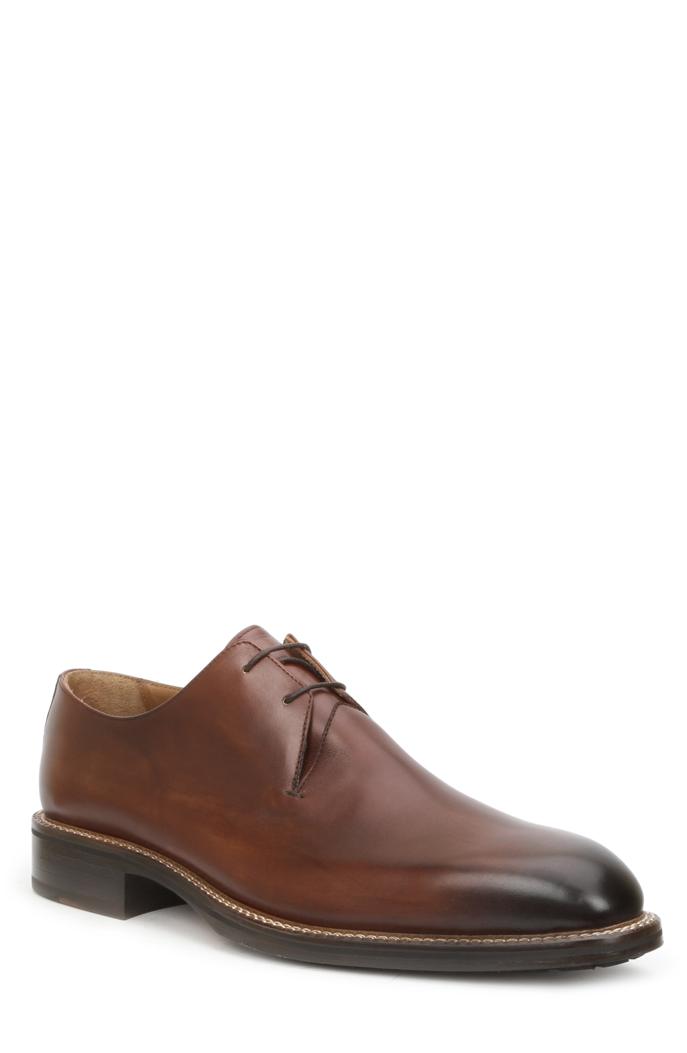 BRUNO MAGLI Norris Plain Toe Leather Lace-Up Shoes in Cognac