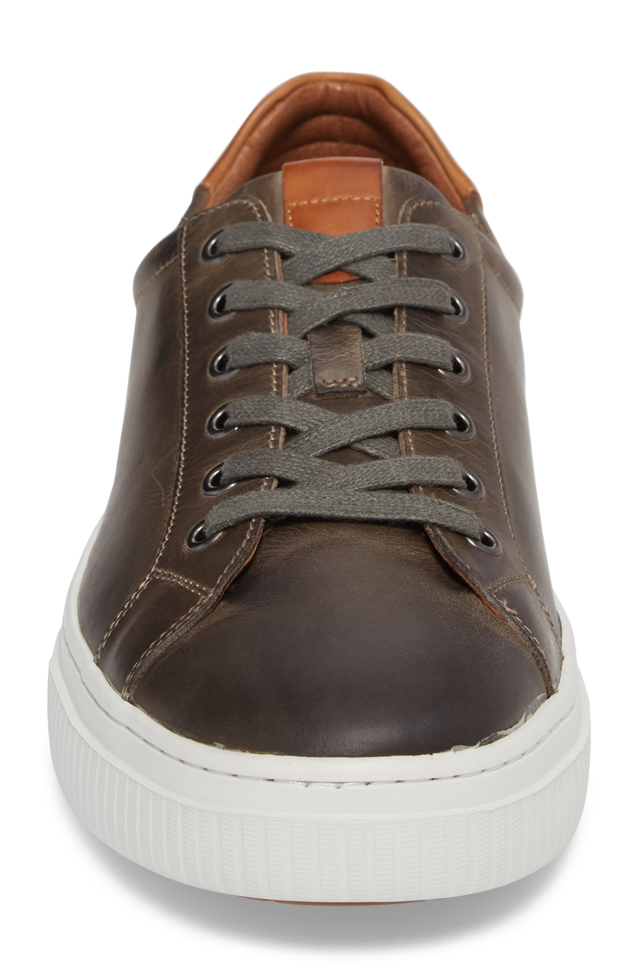 Toliver Low Top Sneaker,                             Alternate thumbnail 4, color,                             GREY LEATHER