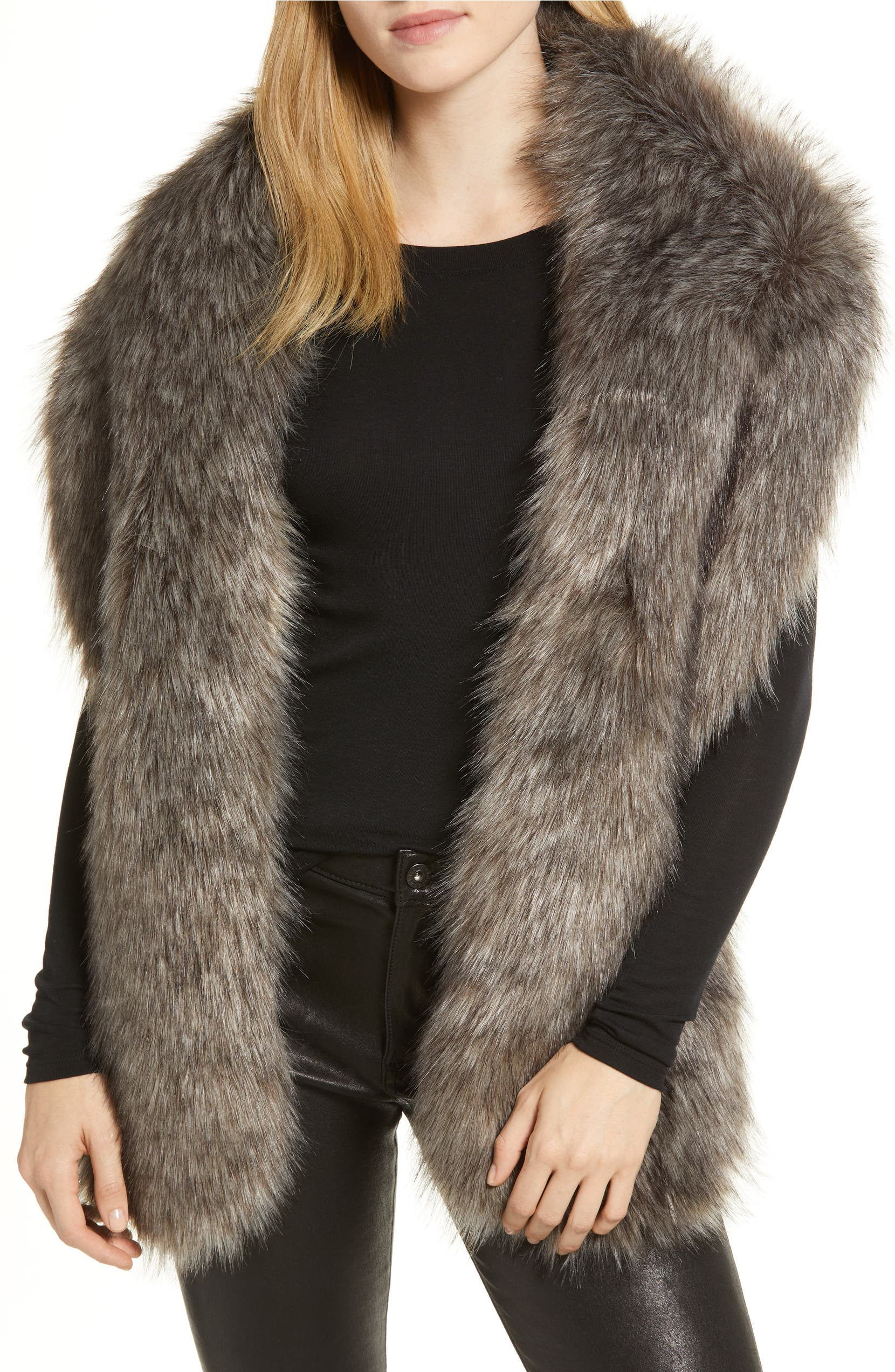 Faux Fox Fur Stole,                         Main,                         color, GREY-COMBO