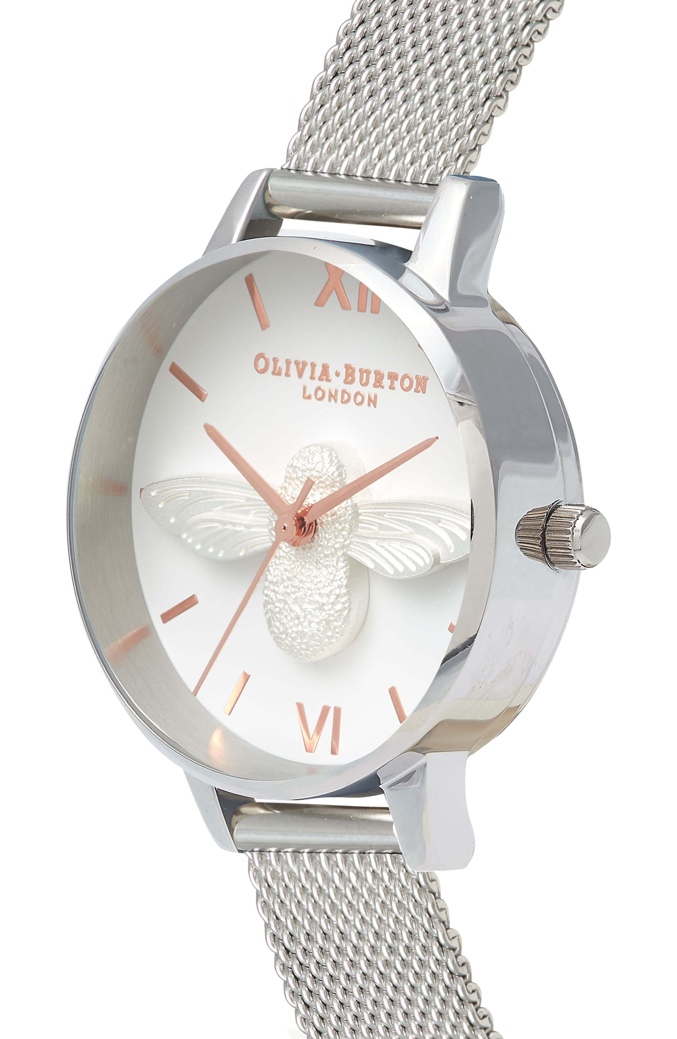 Bee Mesh Strap Watch, 30mm,                             Alternate thumbnail 3, color,                             SILVER/ BEE/ SILVER