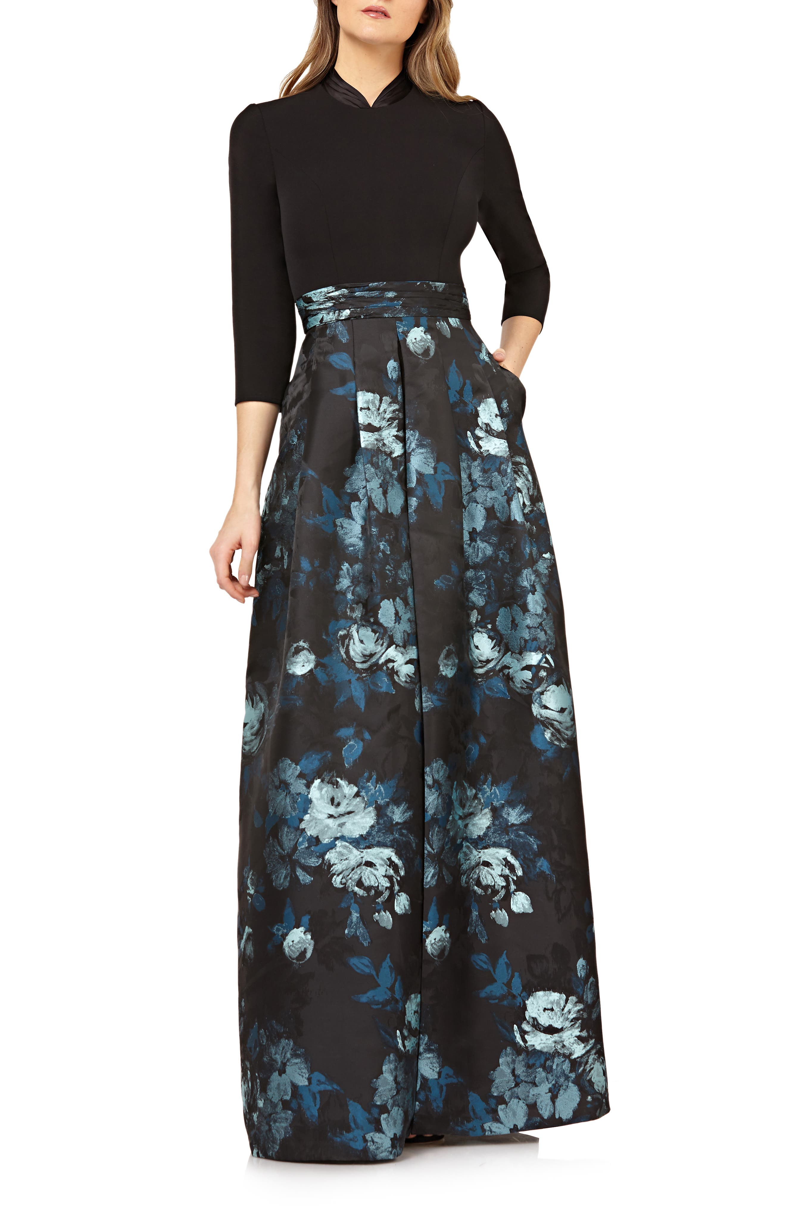 Kay Unger New York Sleeve Floral Jacquard Evening Gown In Black