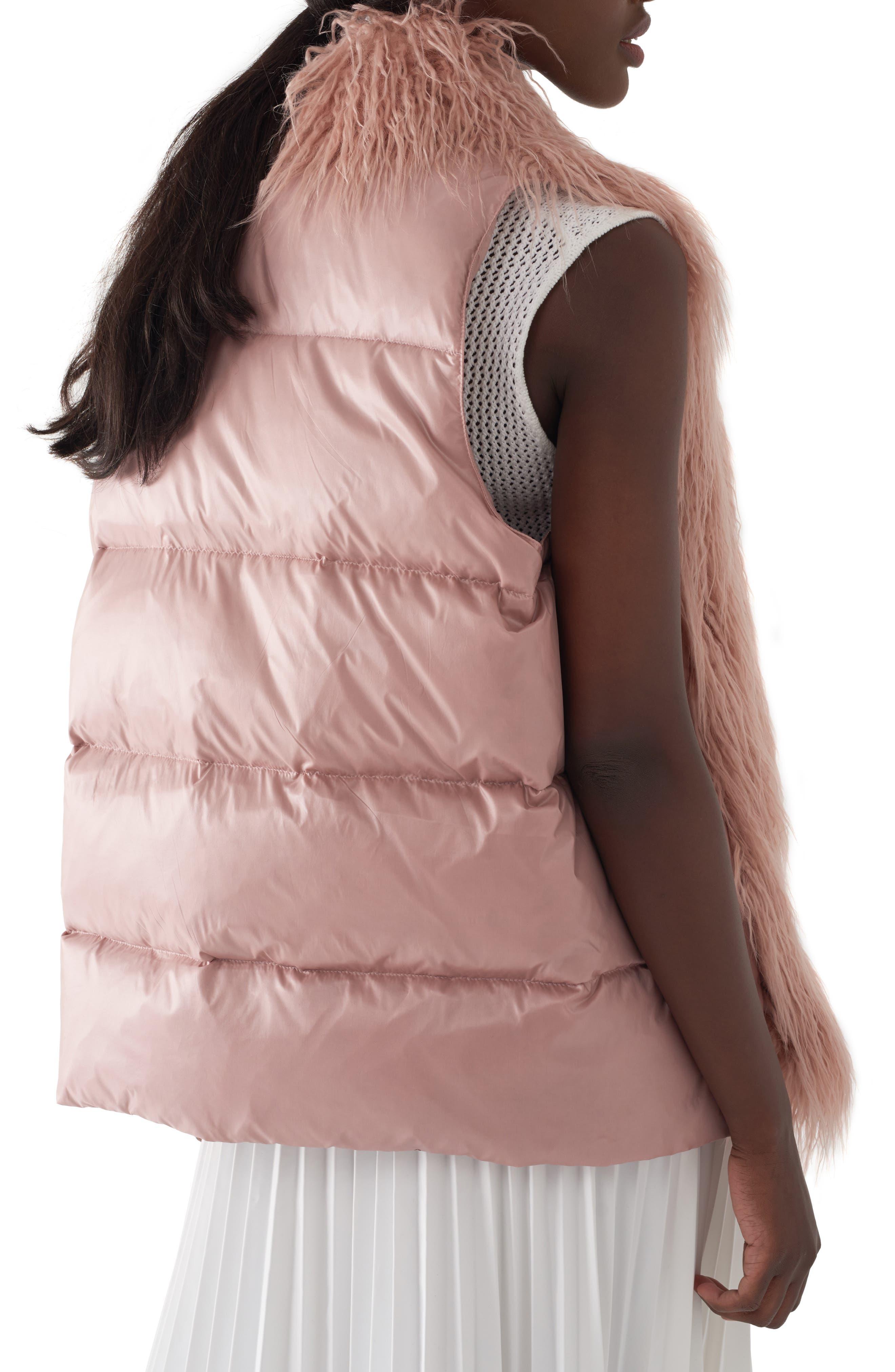 Gila Down & Faux Fur Vest,                             Alternate thumbnail 2, color,                             MILLENNIAL PINK