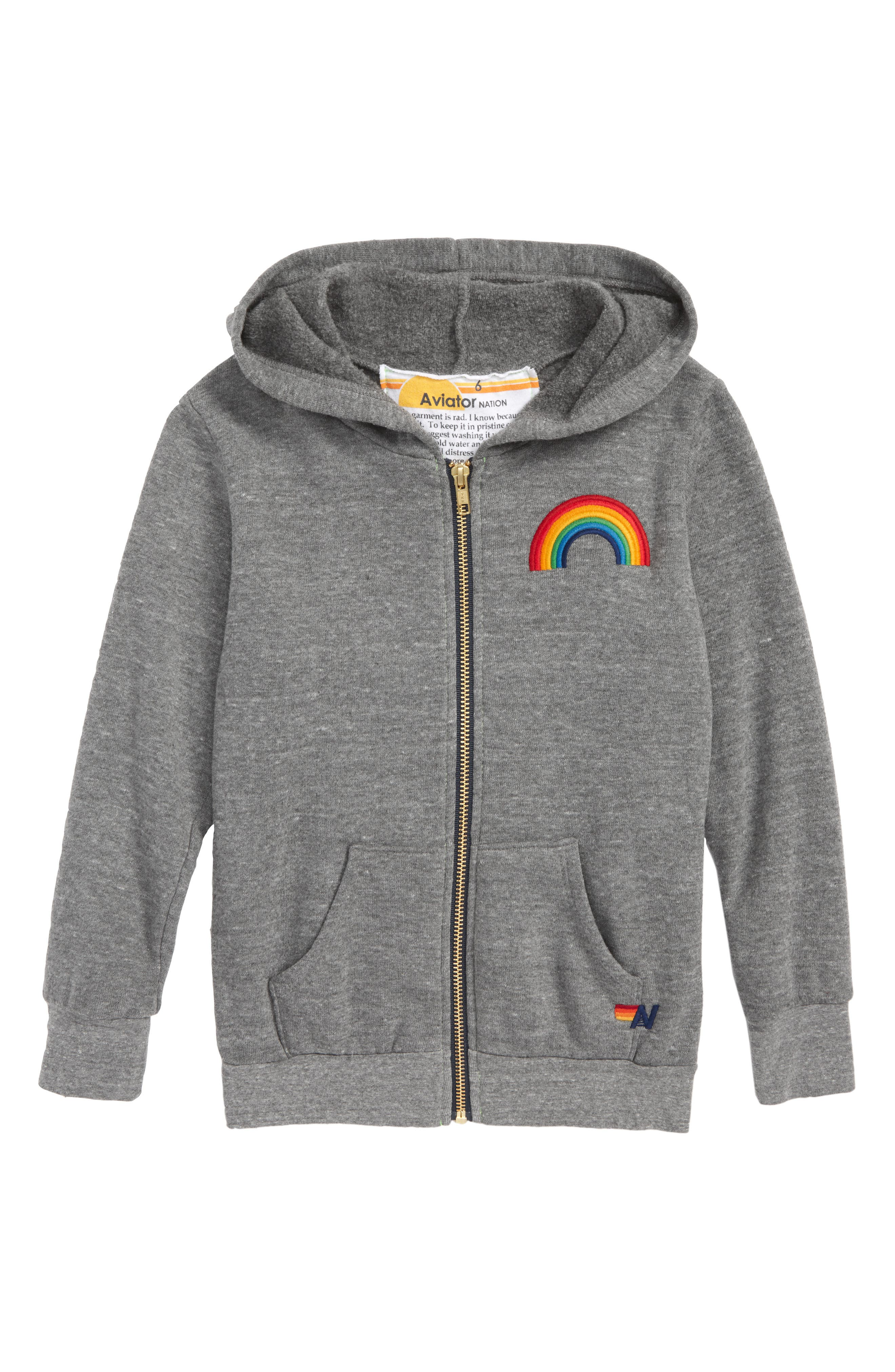 Rainbow Embroidery Zip Hoodie,                         Main,                         color, 020