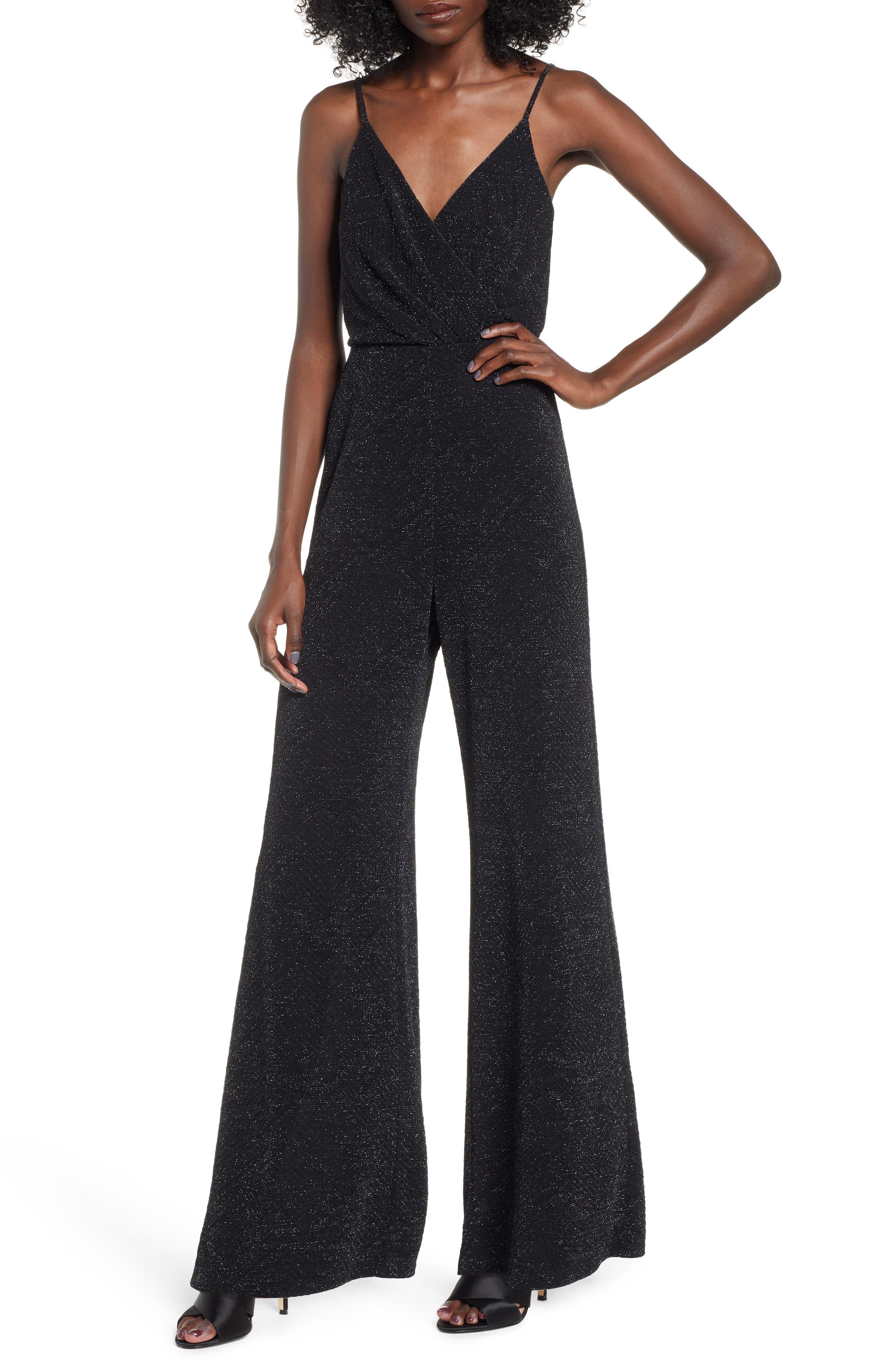 Metallic Wrap Jumpsuit,                         Main,                         color, BLACK