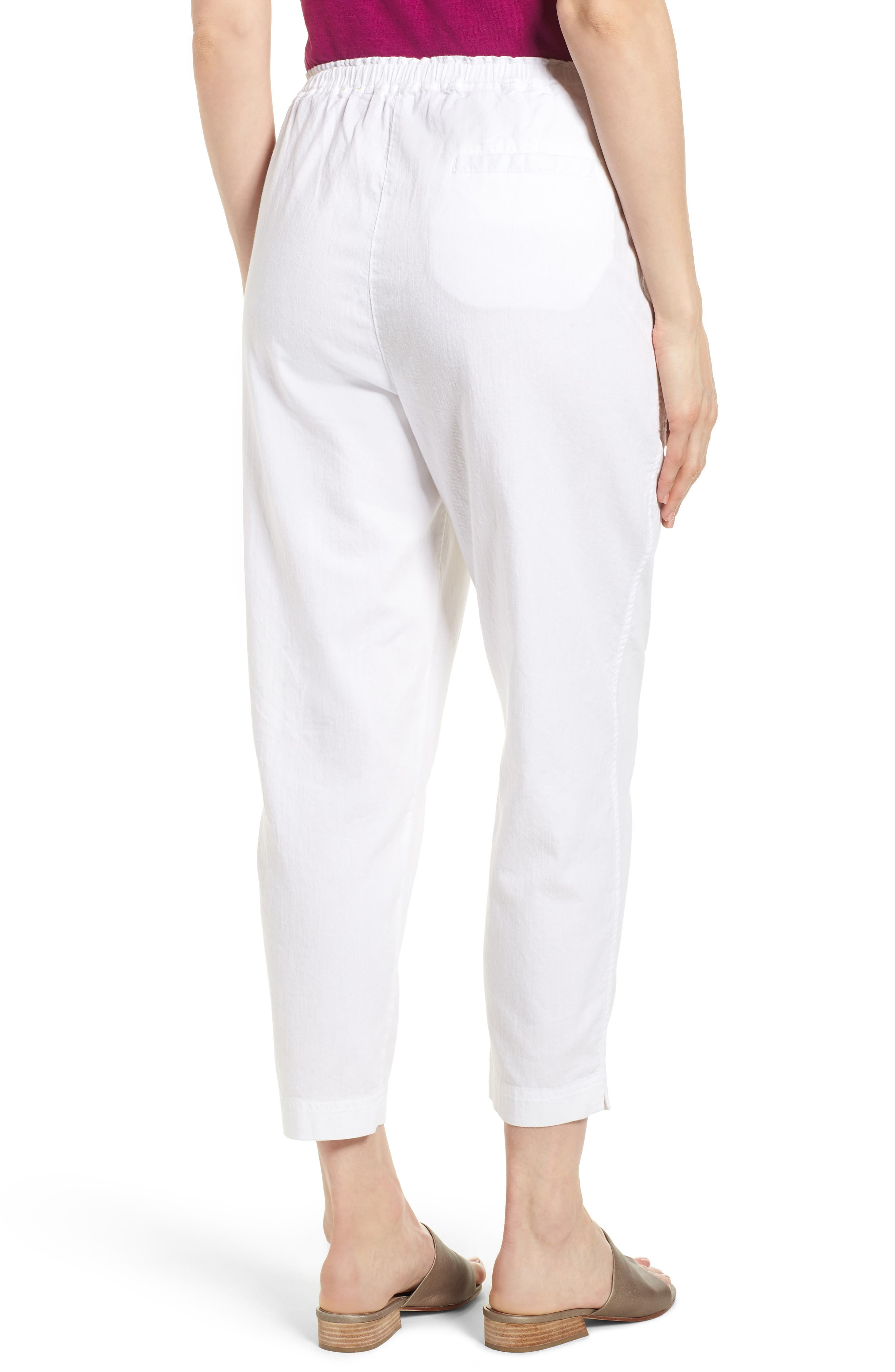 Tapered Organic Cotton Crop Pants,                             Alternate thumbnail 2, color,                             WHITE