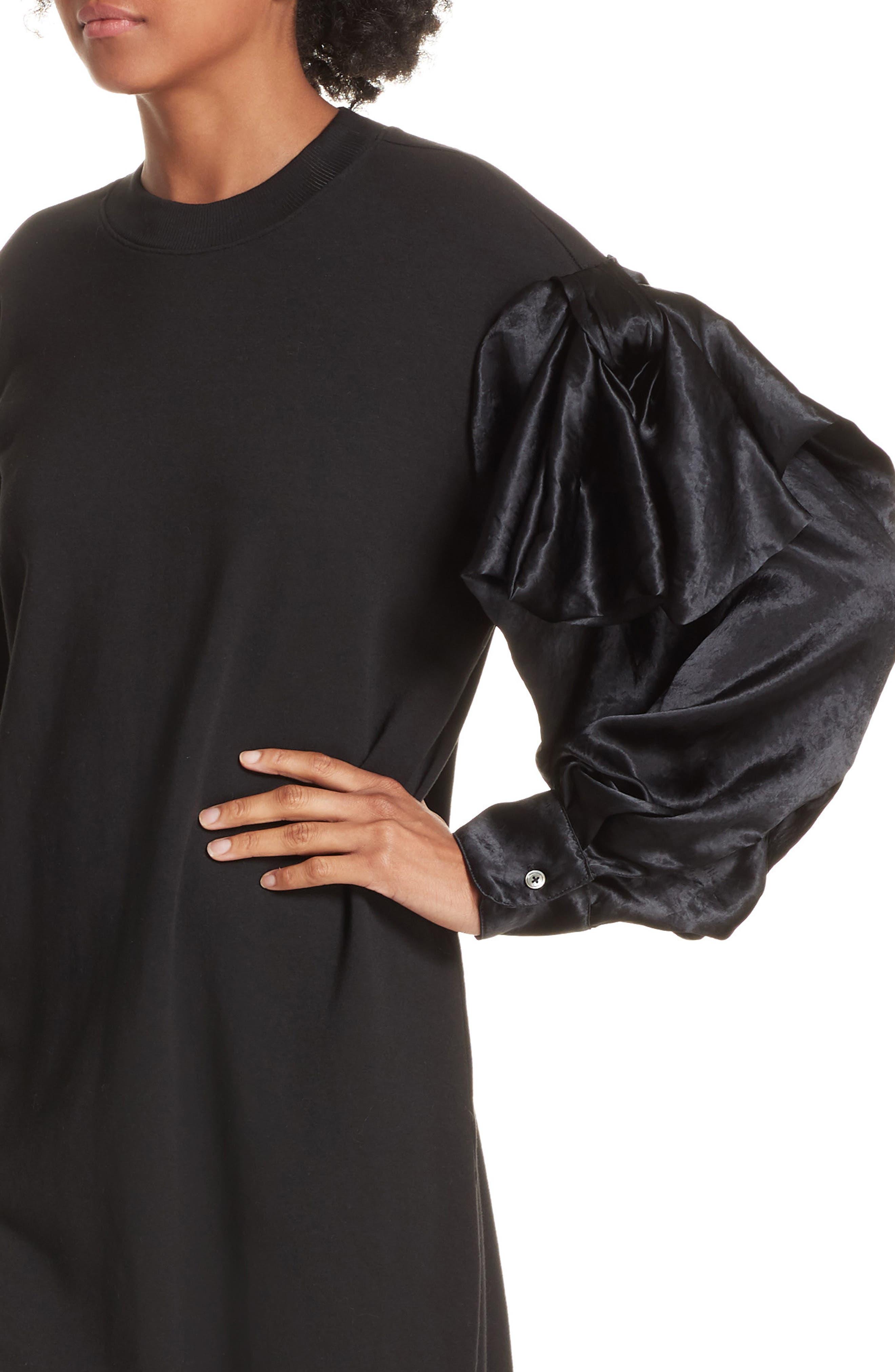 Asymmetric Sweatshirt Dress,                             Alternate thumbnail 4, color,                             BLACK