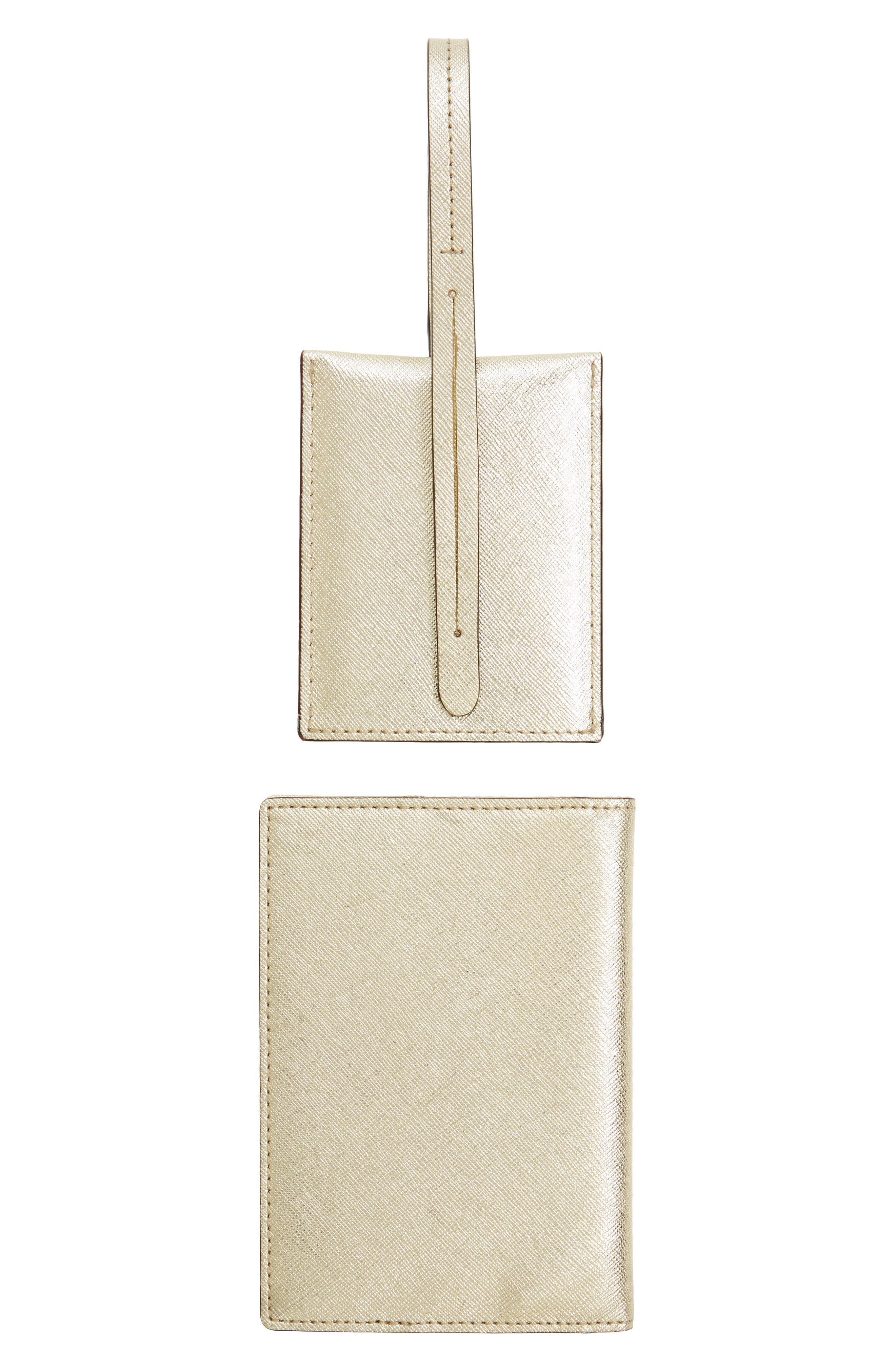 leather passport case & luggage tag set,                             Alternate thumbnail 5, color,