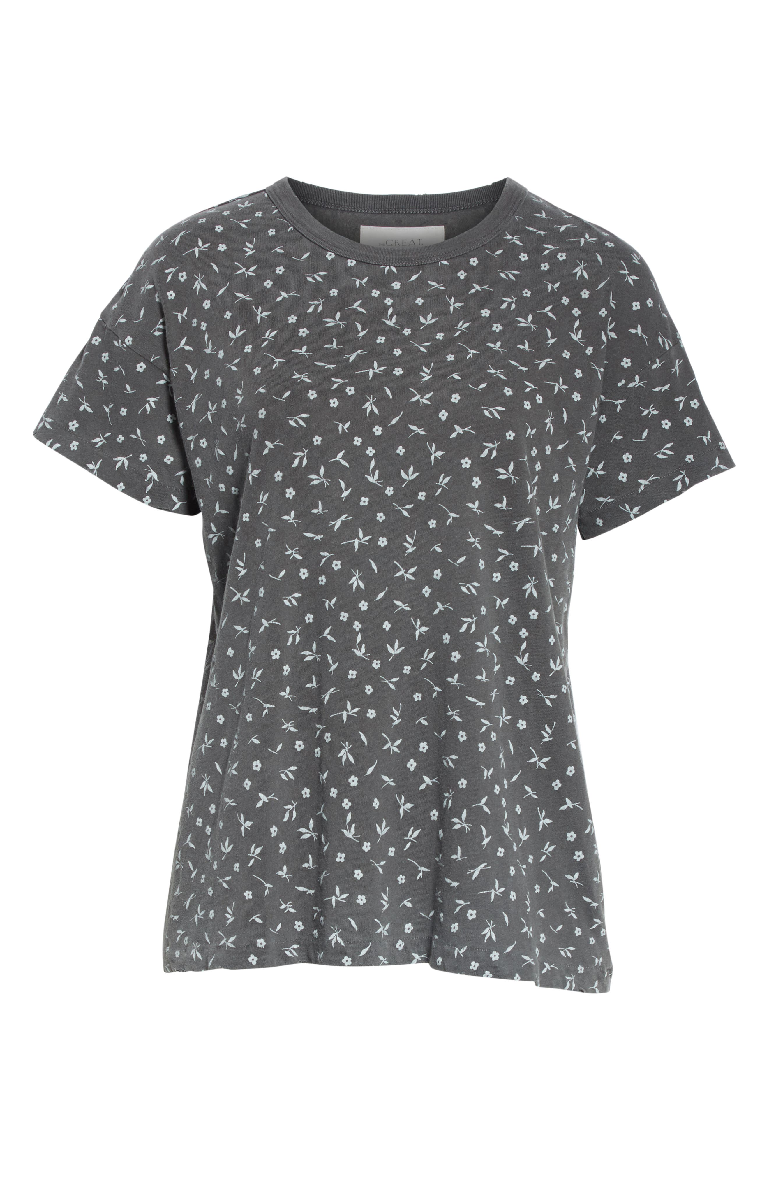 The Boxy Crew Tee,                             Alternate thumbnail 6, color,                             WASHED BLACK DITZY FLORAL