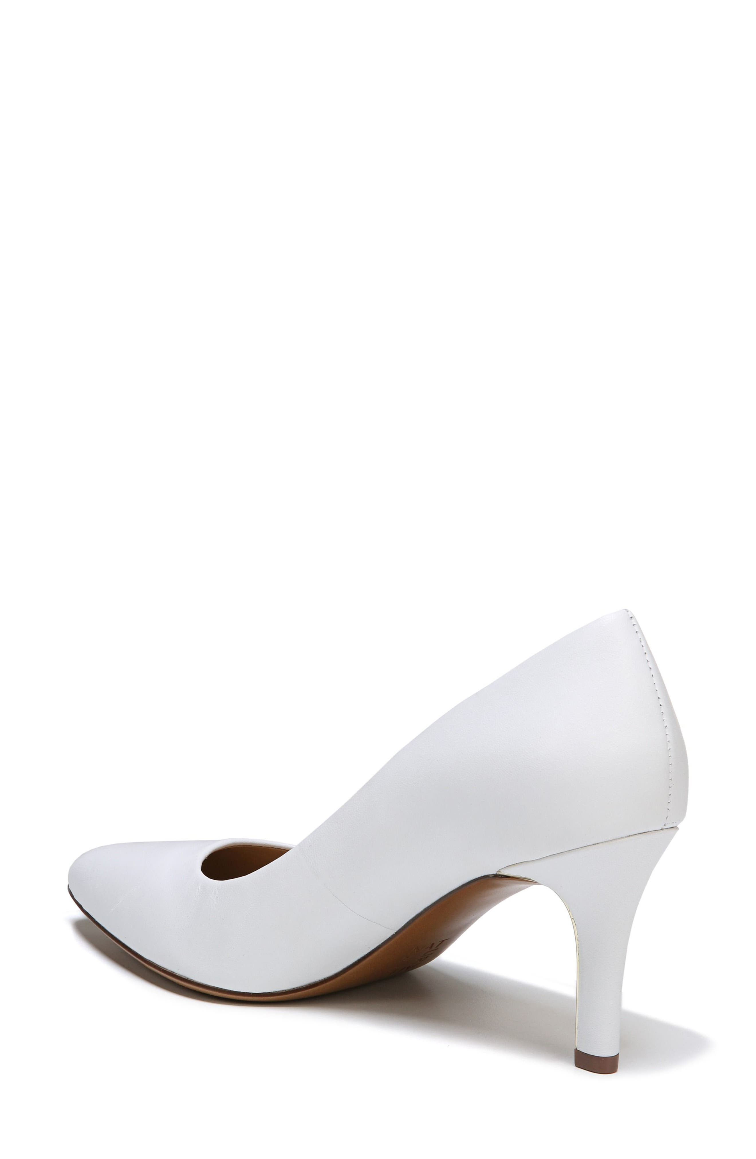 Natalie Pointy Toe Pump,                             Alternate thumbnail 7, color,                             WHITE LEATHER