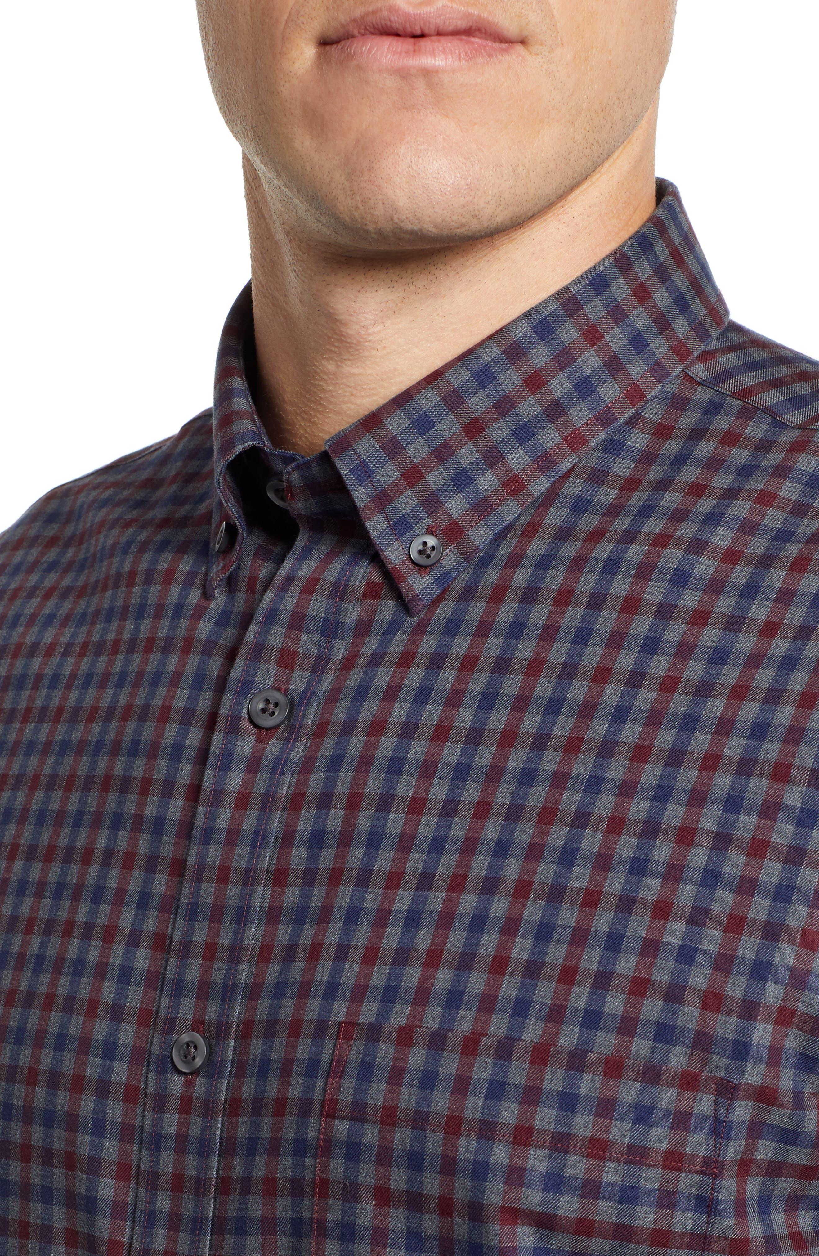 Smartcare<sup>™</sup> Regular Fit Check Sport Shirt,                             Alternate thumbnail 4, color,                             BURGUNDY ROYALE NAVY CHECK