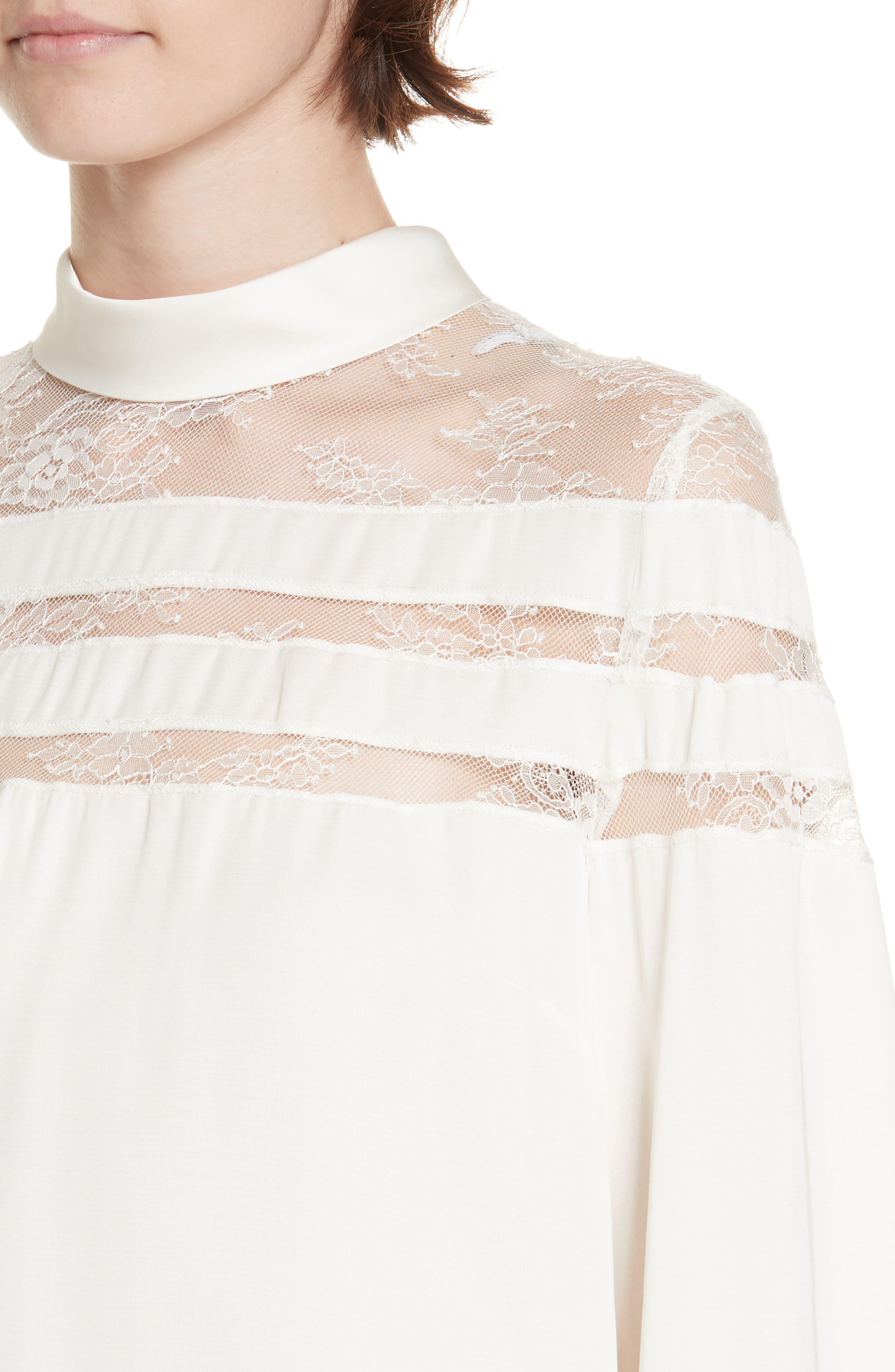 Mirtylles Lace Detail Sheer Top,                             Alternate thumbnail 4, color,                             101