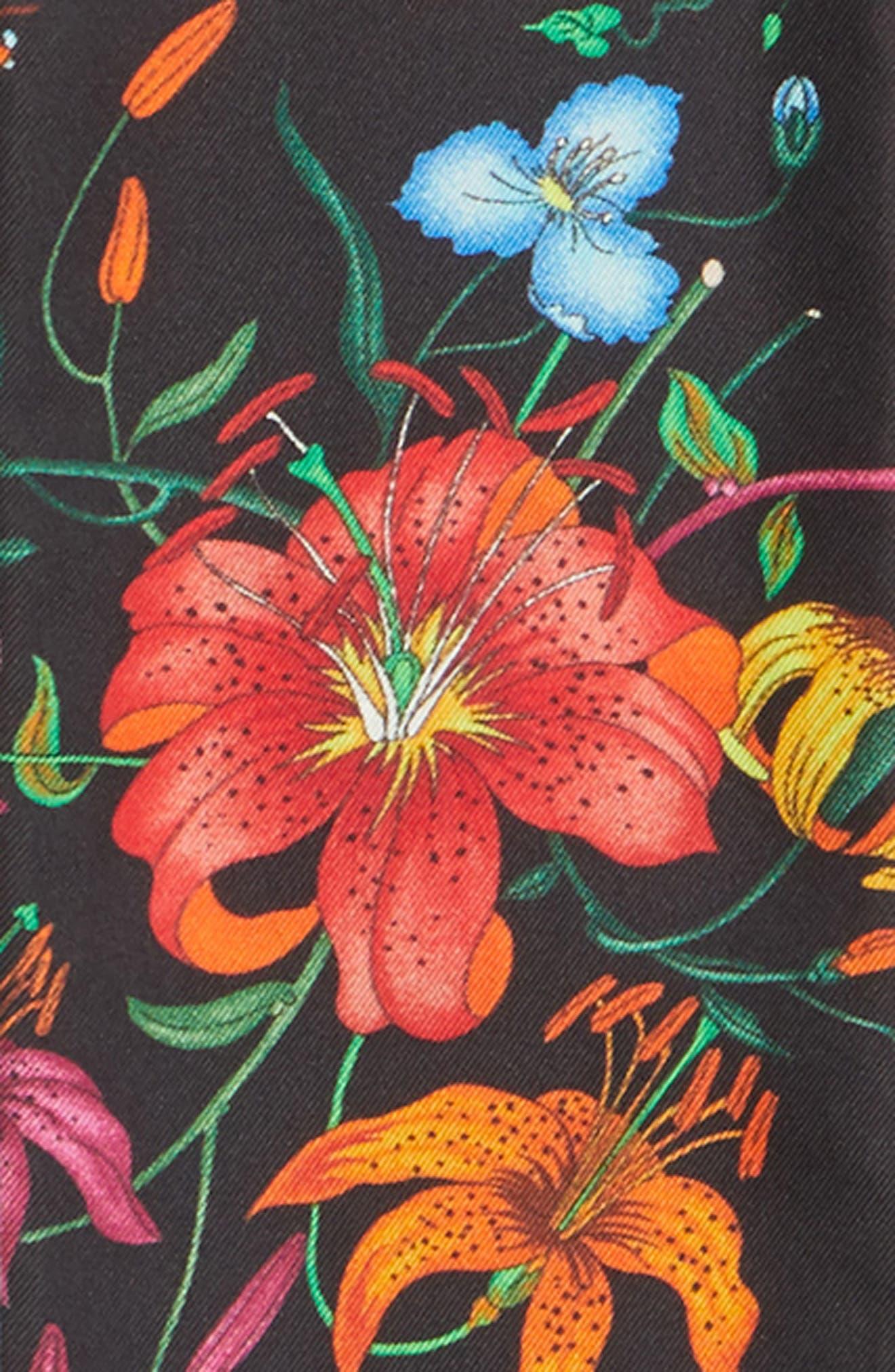 Flora Snake Silk Scarf,                             Alternate thumbnail 4, color,                             BLACK/ PINK